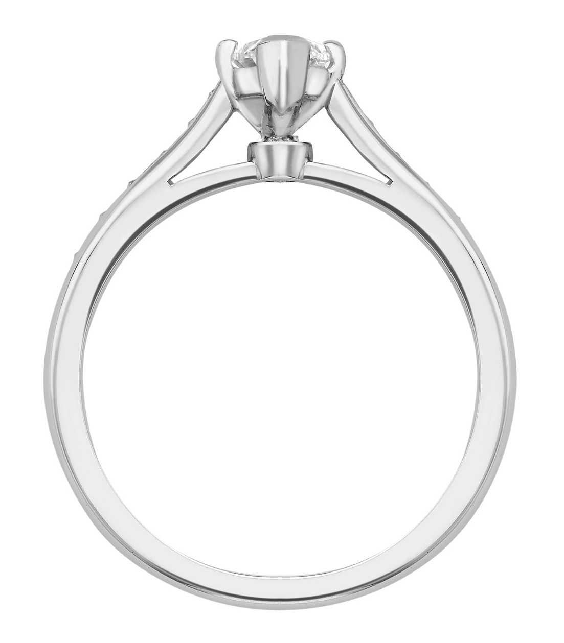 Marquise Cut Platinum Ring with Pave Set Shoulders GRC554PLT Image 2