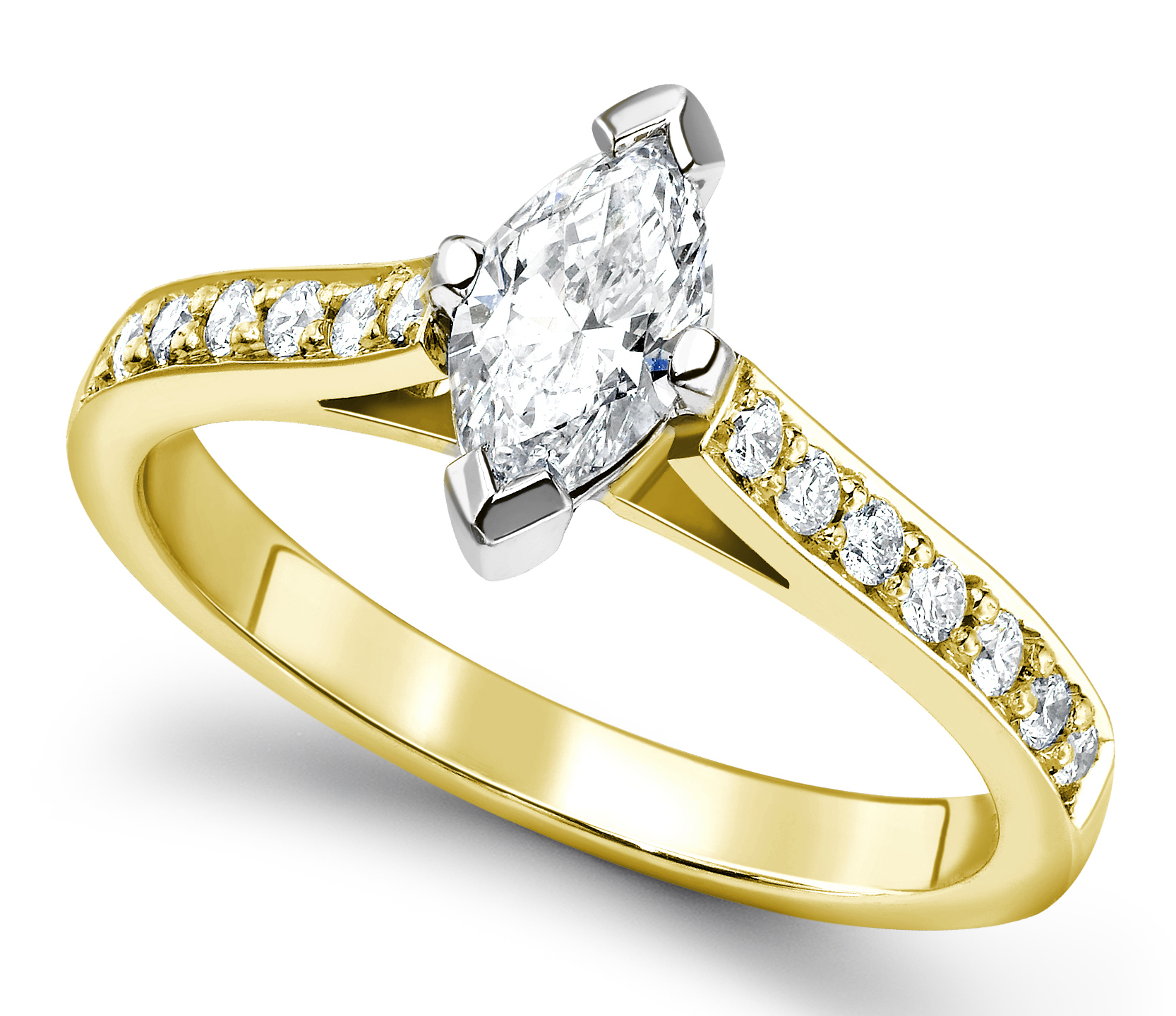 Marquise Cut Yellow Gold Ring with Pave Set Shoulders GRC554YG Main Image