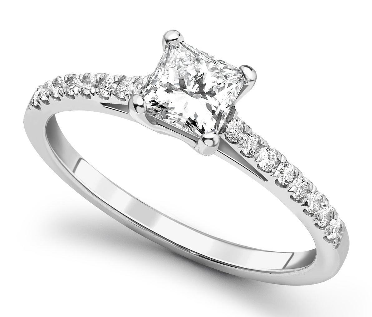 Princess Cut 4 Claw White Gold Diamond Engagement Ring CRC685  Main Image