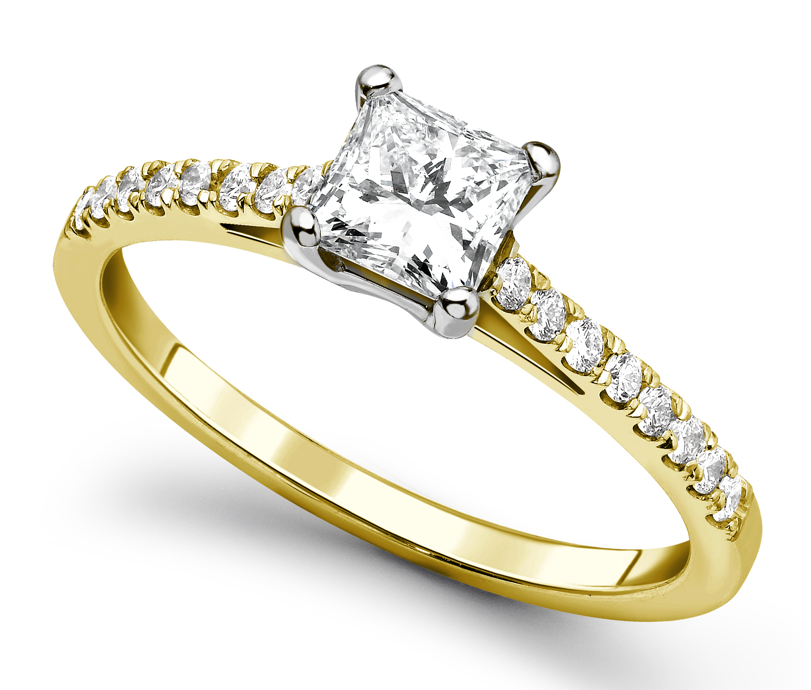 Princess Cut 4 Claw Yellow Gold Diamond Engagement Ring CRC685YG Main Image