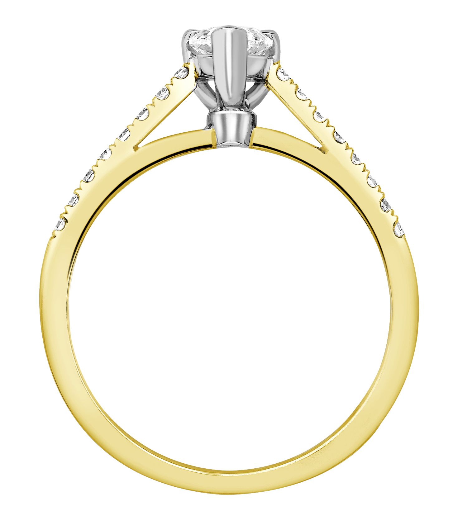 Pear Shape 3 Claw Yellow Gold Diamond Engagement Ring CRC698YG Image 2