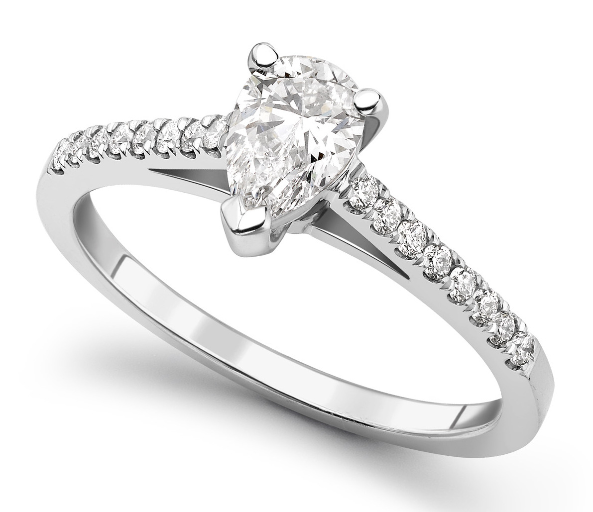 Pear Shape 3 Claw Platinum Diamond Engagement Ring CRC698PLT Main Image