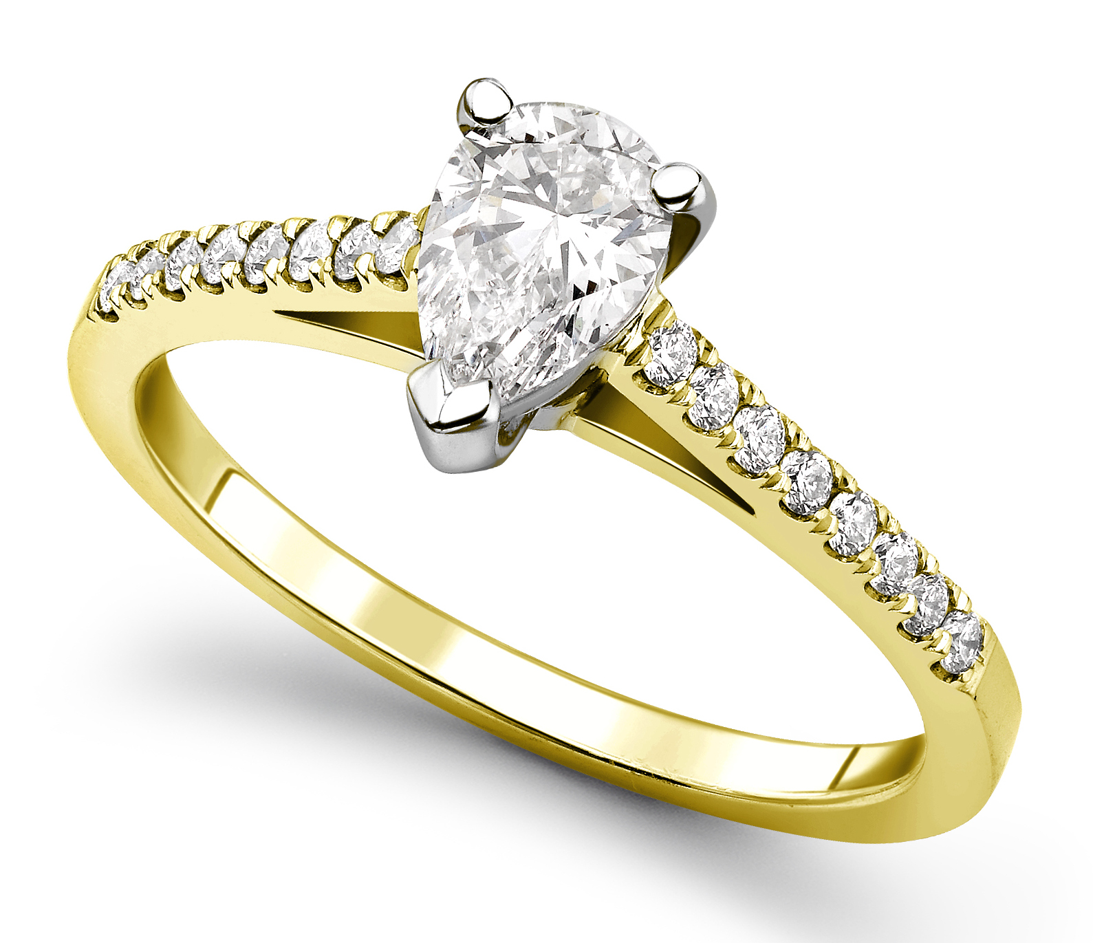 Pear Shape 3 Claw Yellow Gold Diamond Engagement Ring CRC698YG Main Image