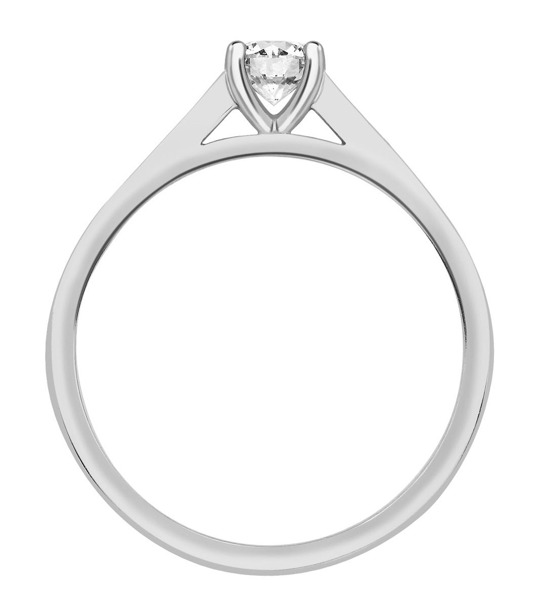 Round Four Claw White Gold Channel Set Engagement Ring CRC739 Image 2