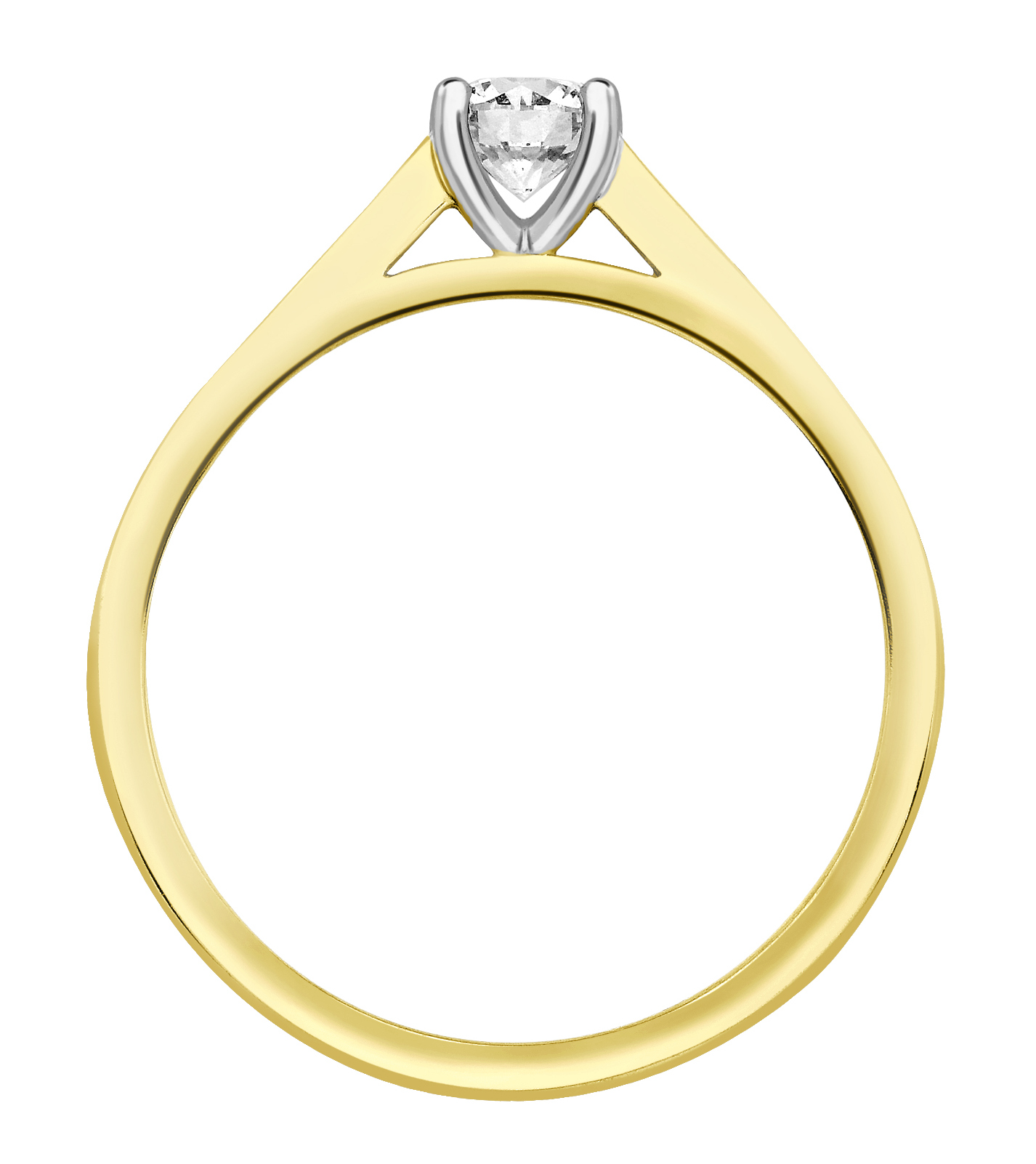 Round Four Claw Yellow Gold Channel Set Engagement Ring CRC739YG Image 2