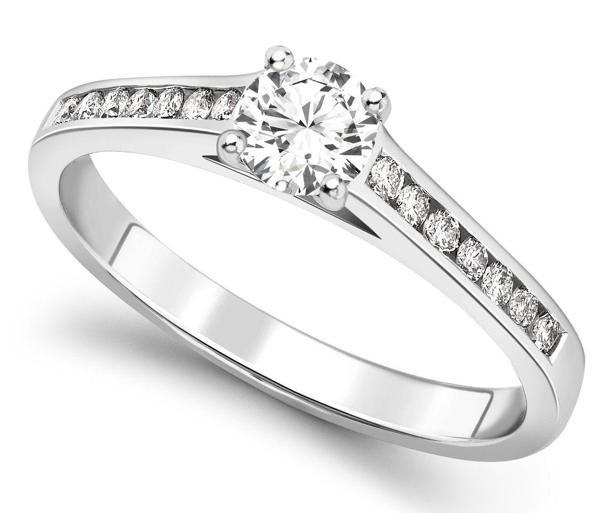Round Four Claw White Gold Channel Set Engagement Ring CRC739 Main Image