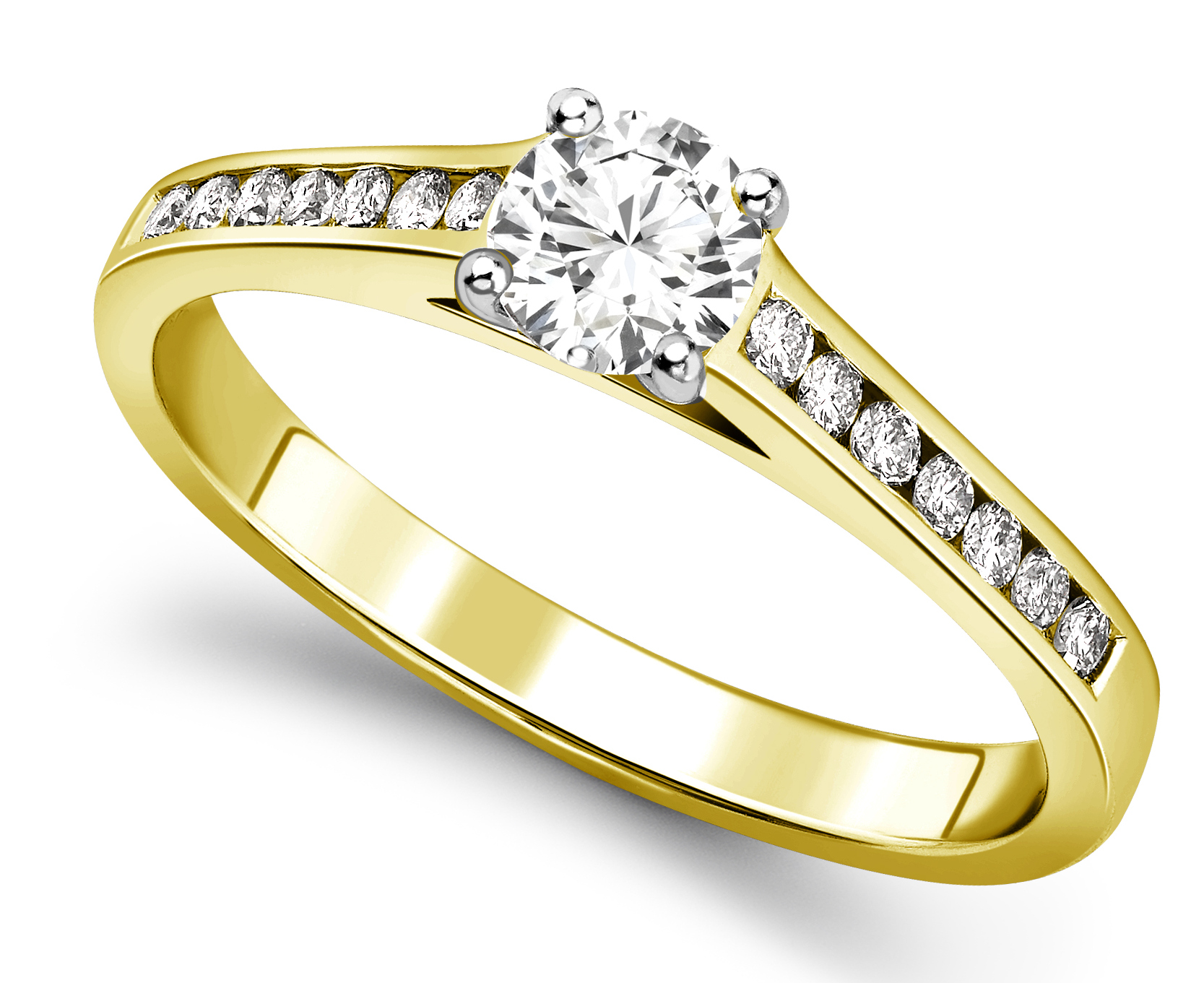 Round Four Claw Yellow Gold Channel Set Engagement Ring CRC739YG Main Image