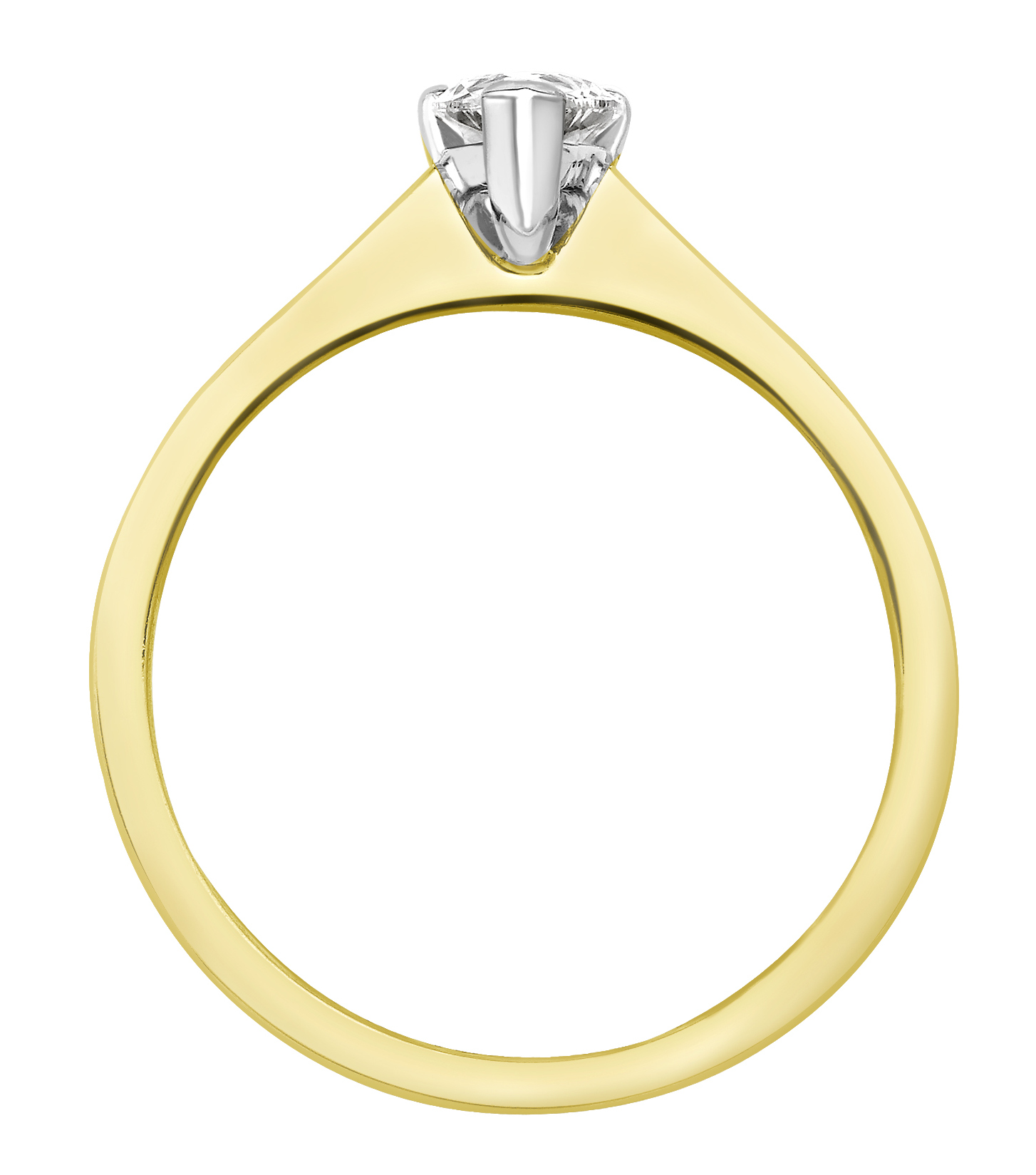 Pear Shape Yellow Gold Ring with Channel Set Shoulders CRC750YG Image 2
