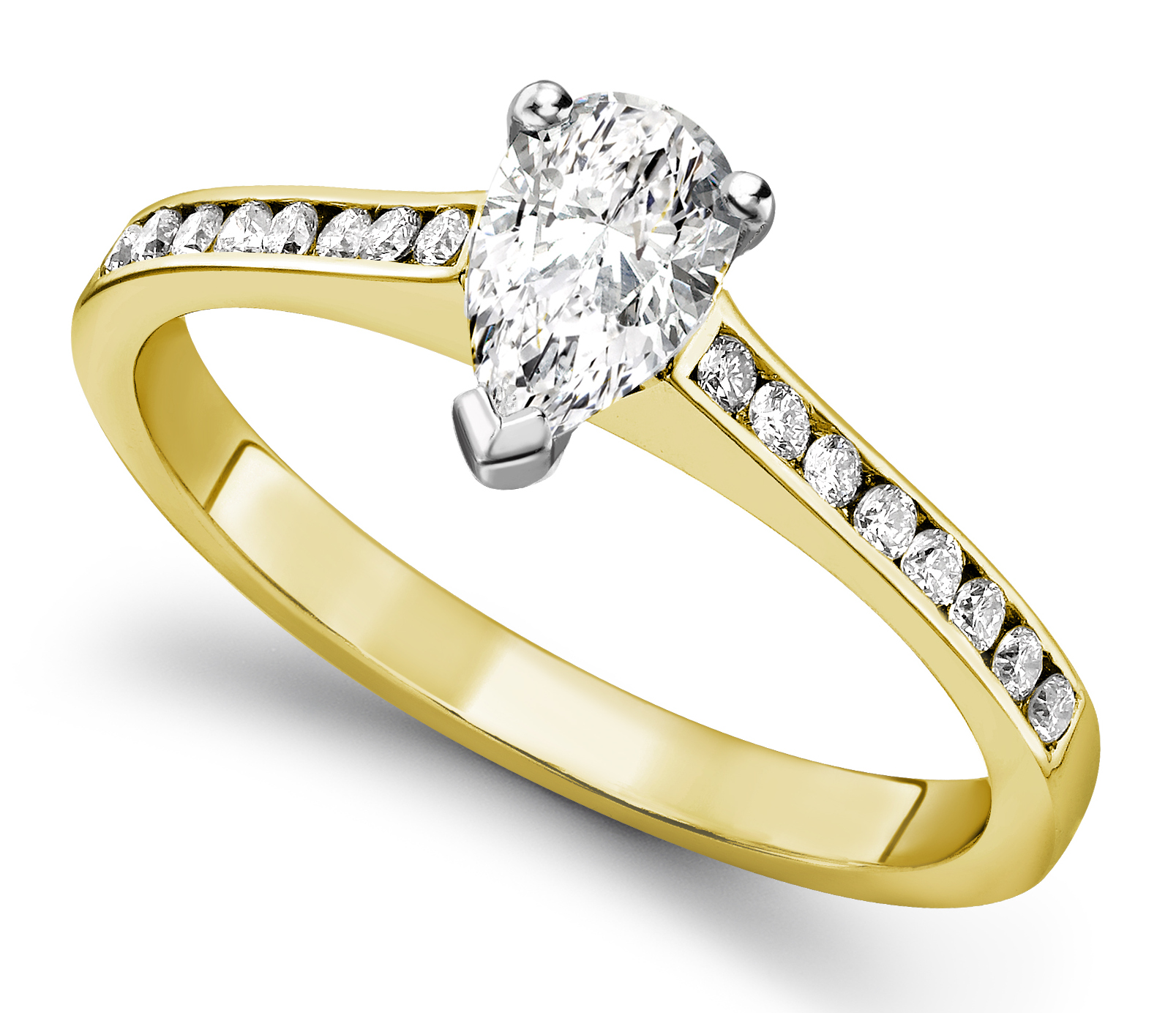 Pear Shape Yellow Gold Ring with Channel Set Shoulders CRC750YG Main Image