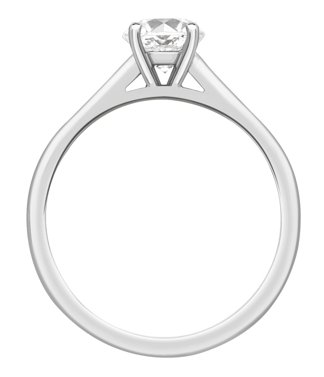 Round 4 Claw Platinum Channel Set Engagement Ring CRC761PLT Image 2