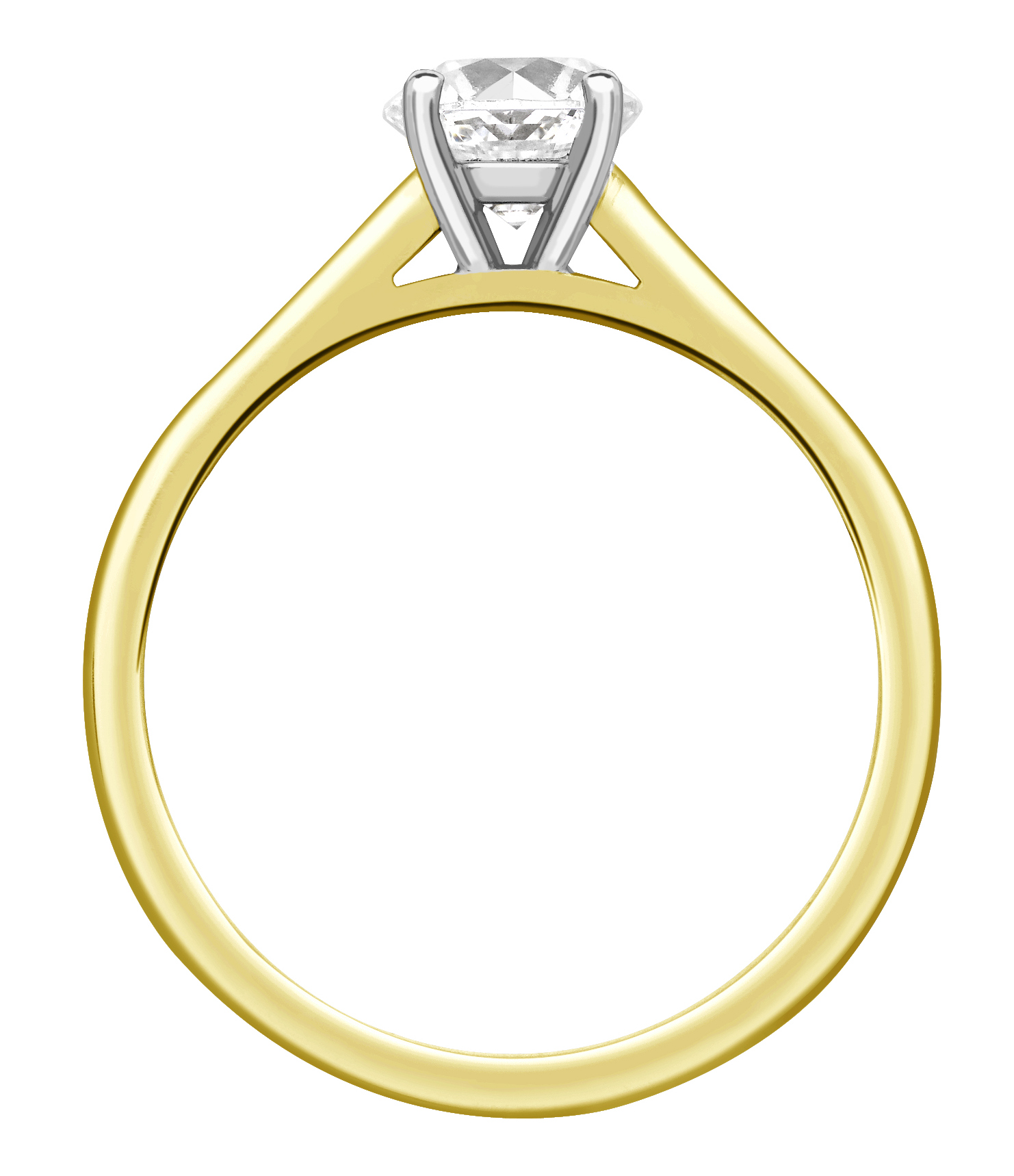 Round Four Claw Yellow Gold Channel Set Engagement Ring CRC761YG  Image 2