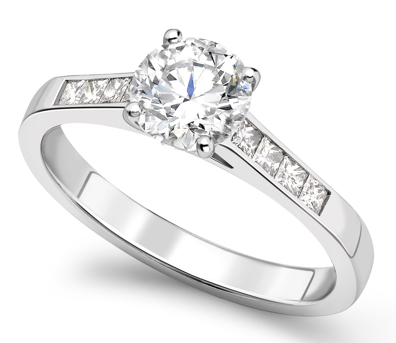 Round 4 Claw Platinum Channel Set Engagement Ring CRC761PLT Main Image
