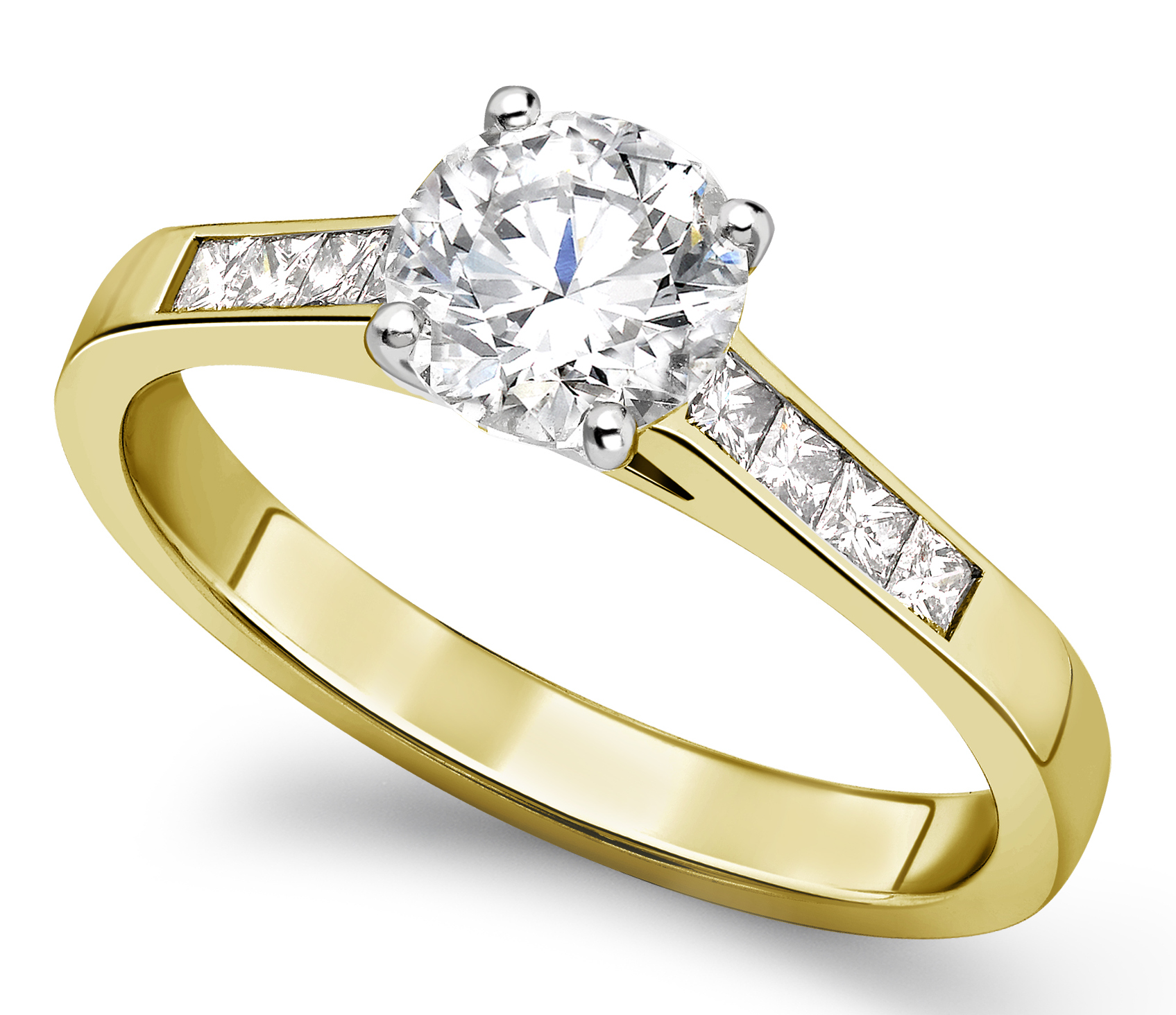 Round Four Claw Yellow Gold Channel Set Engagement Ring CRC761YG  Main Image