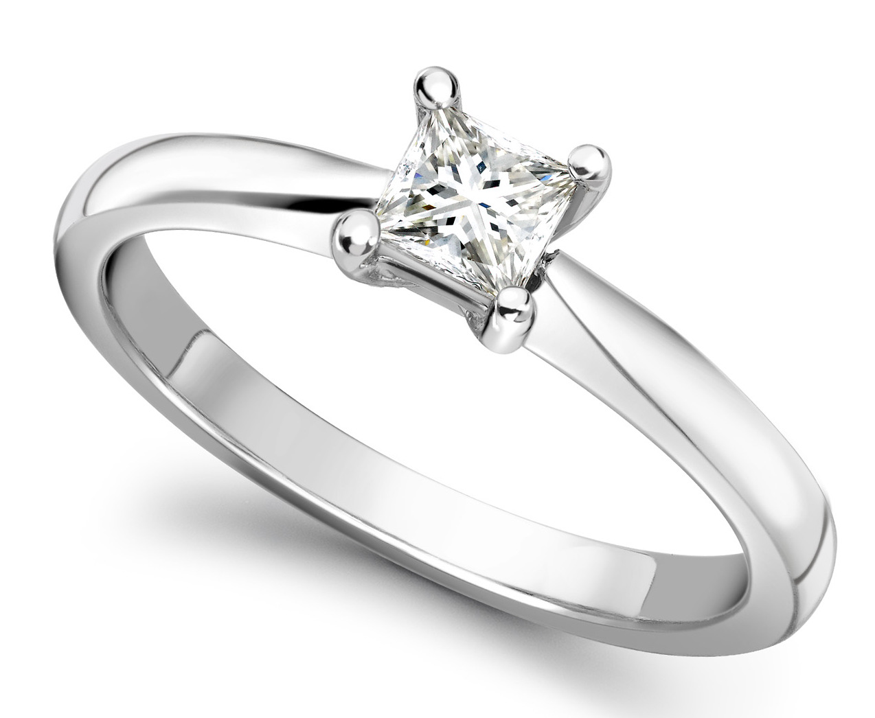Princess Cut Four Claw White Gold Engagement Ring GRC502 Main Image