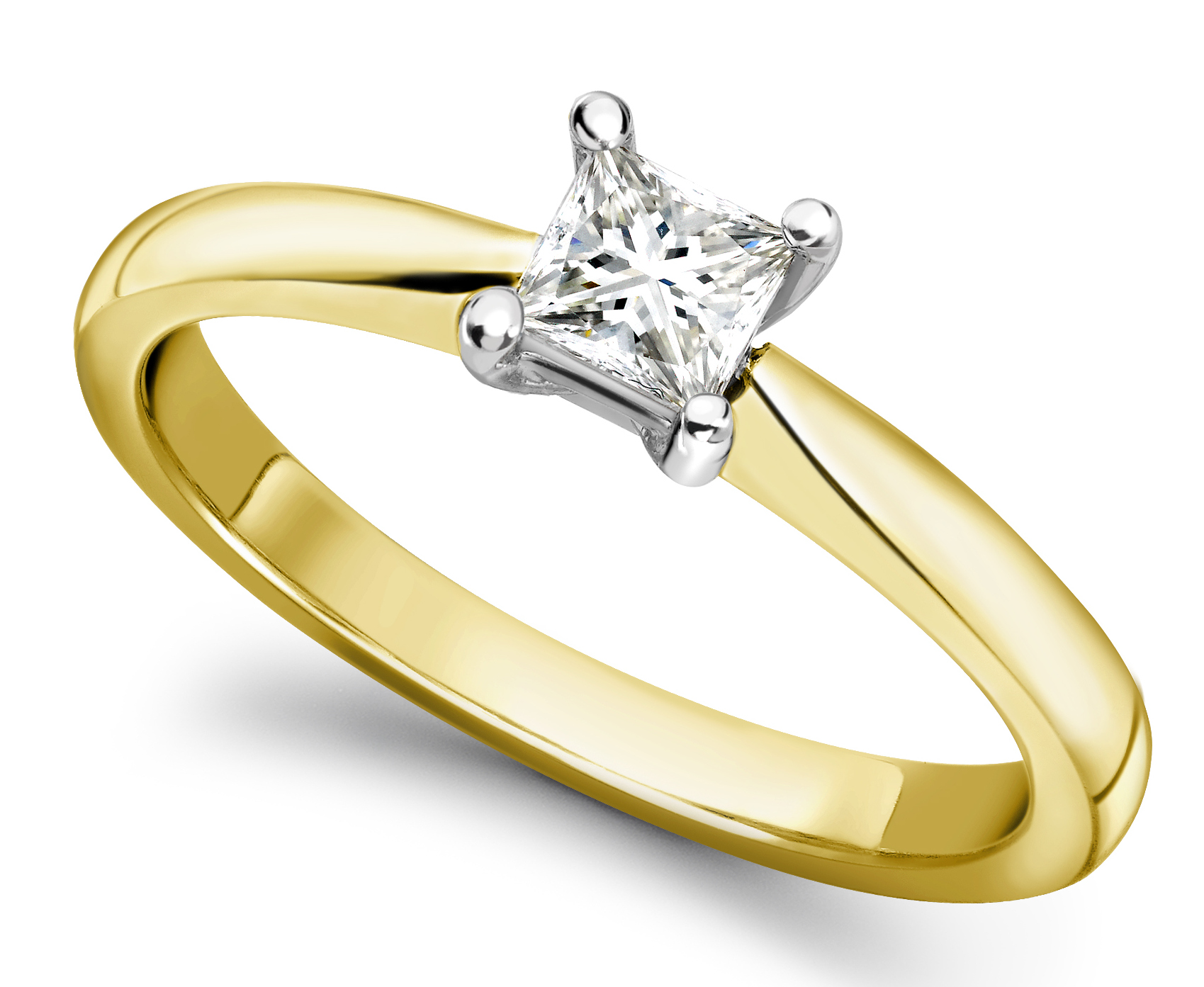Princess Cut Four Claw Yellow Gold Engagement Ring GRC502YG  Main Image