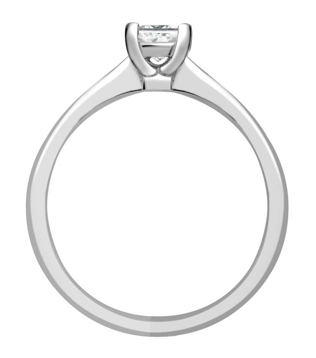 Princess Cut Four Claw White Gold Engagement Ring GRC502 Image 2