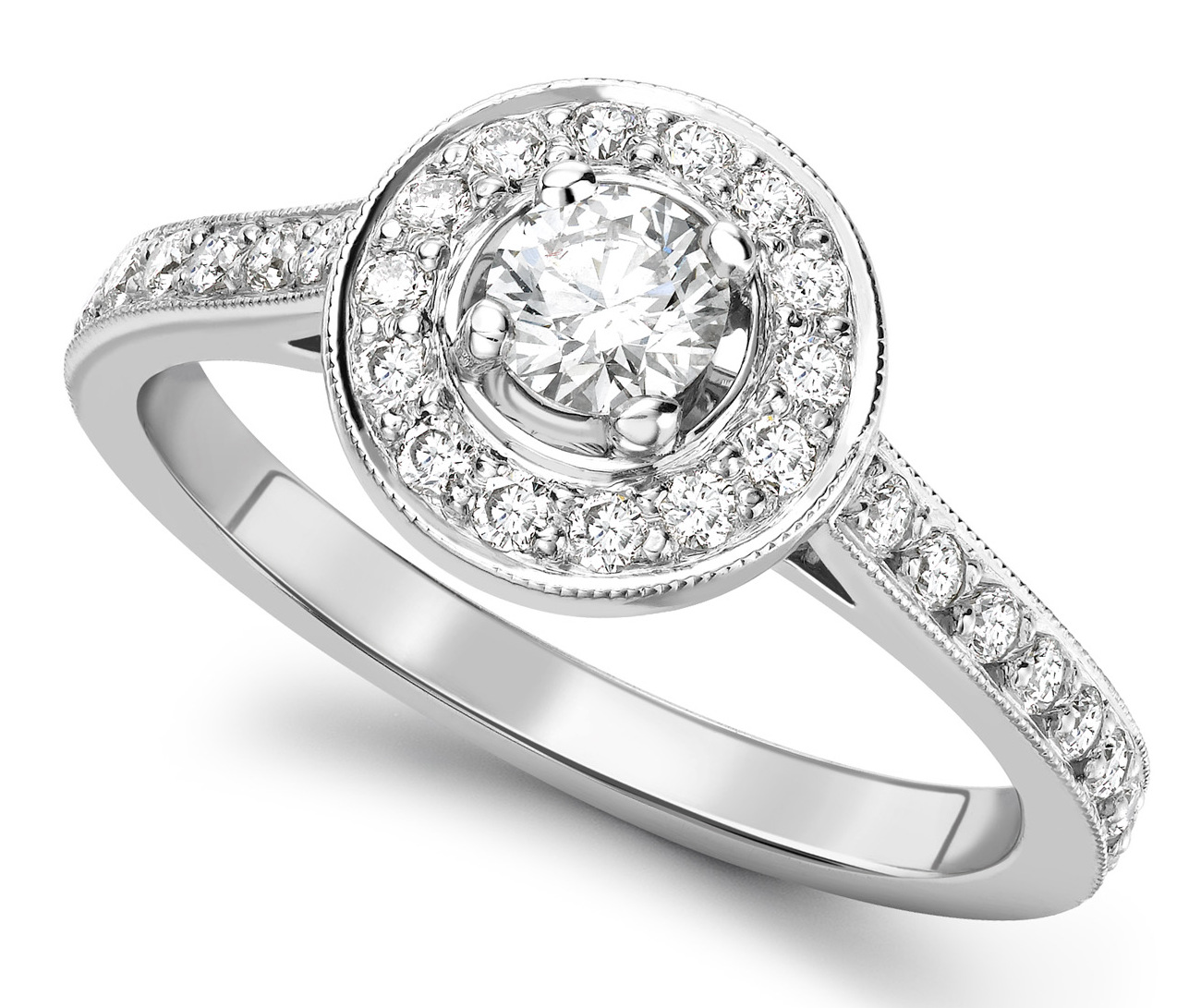 Round 0.25ct Platinum Halo Diamond Engagement Ring GRC639PLT Main Image
