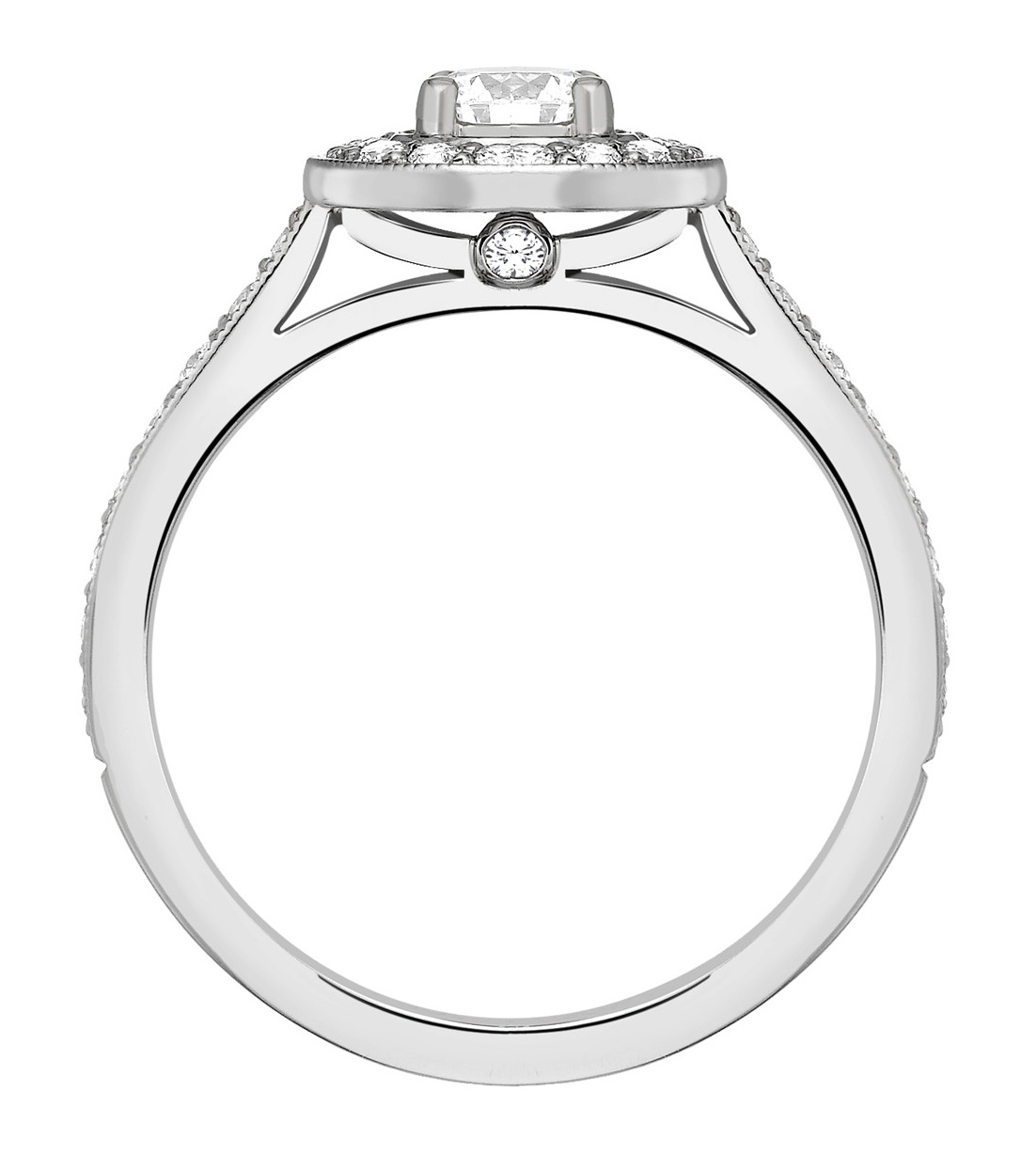 Round 0.25ct Platinum Halo Diamond Engagement Ring GRC639PLT Image 2