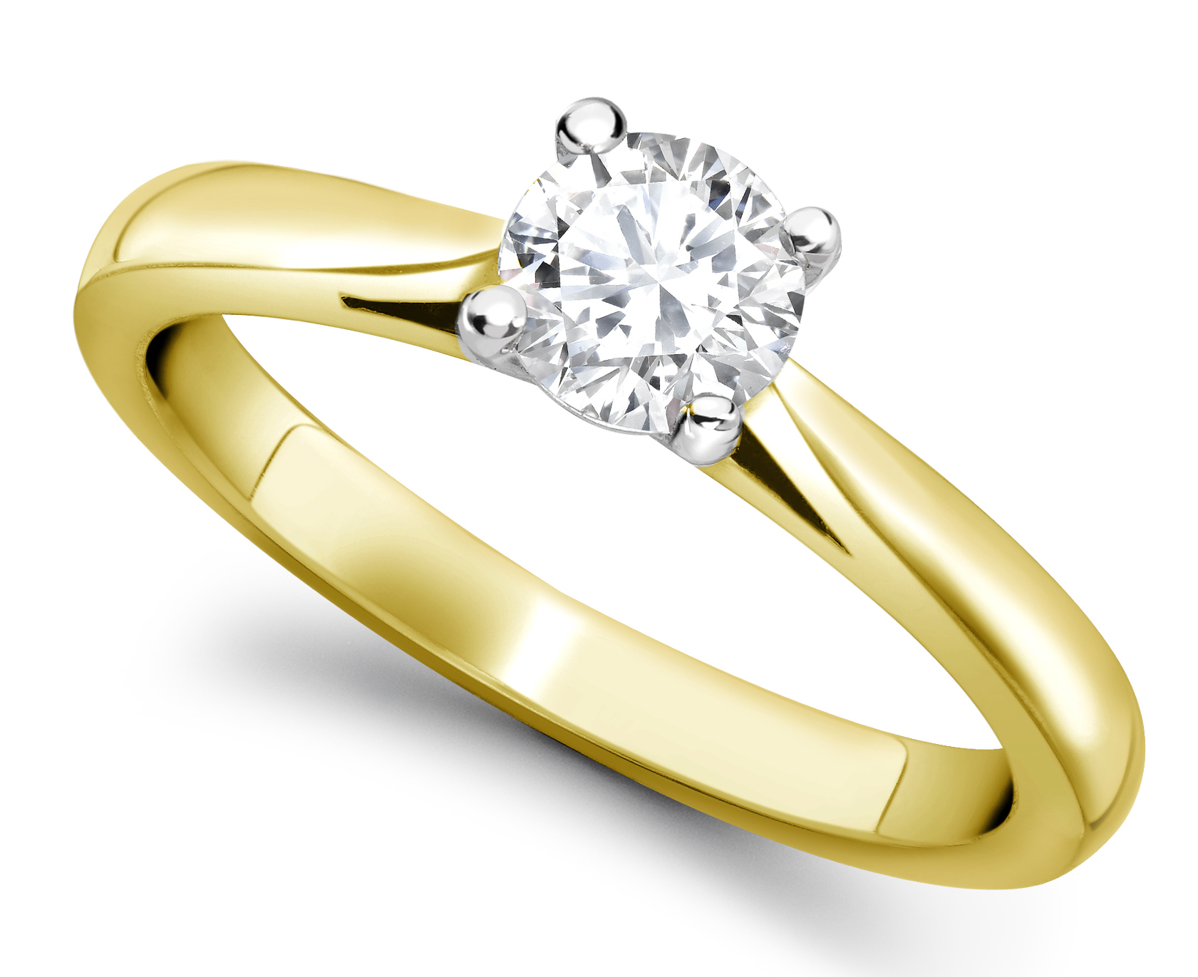 Round 4 Claw Yellow Gold Engagement Ring GRC650YG Main Image