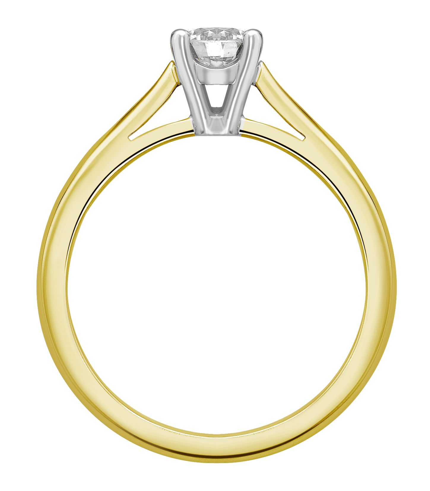 Round 4 Claw Yellow Gold Engagement Ring GRC650YG Image 2