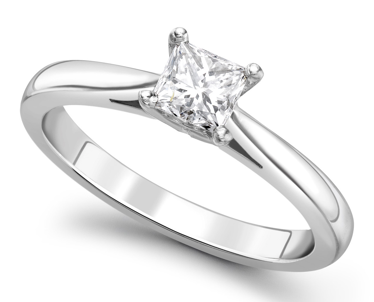 Princess Cut Four Claw White Gold Engagement Ring GRC651 Main Image