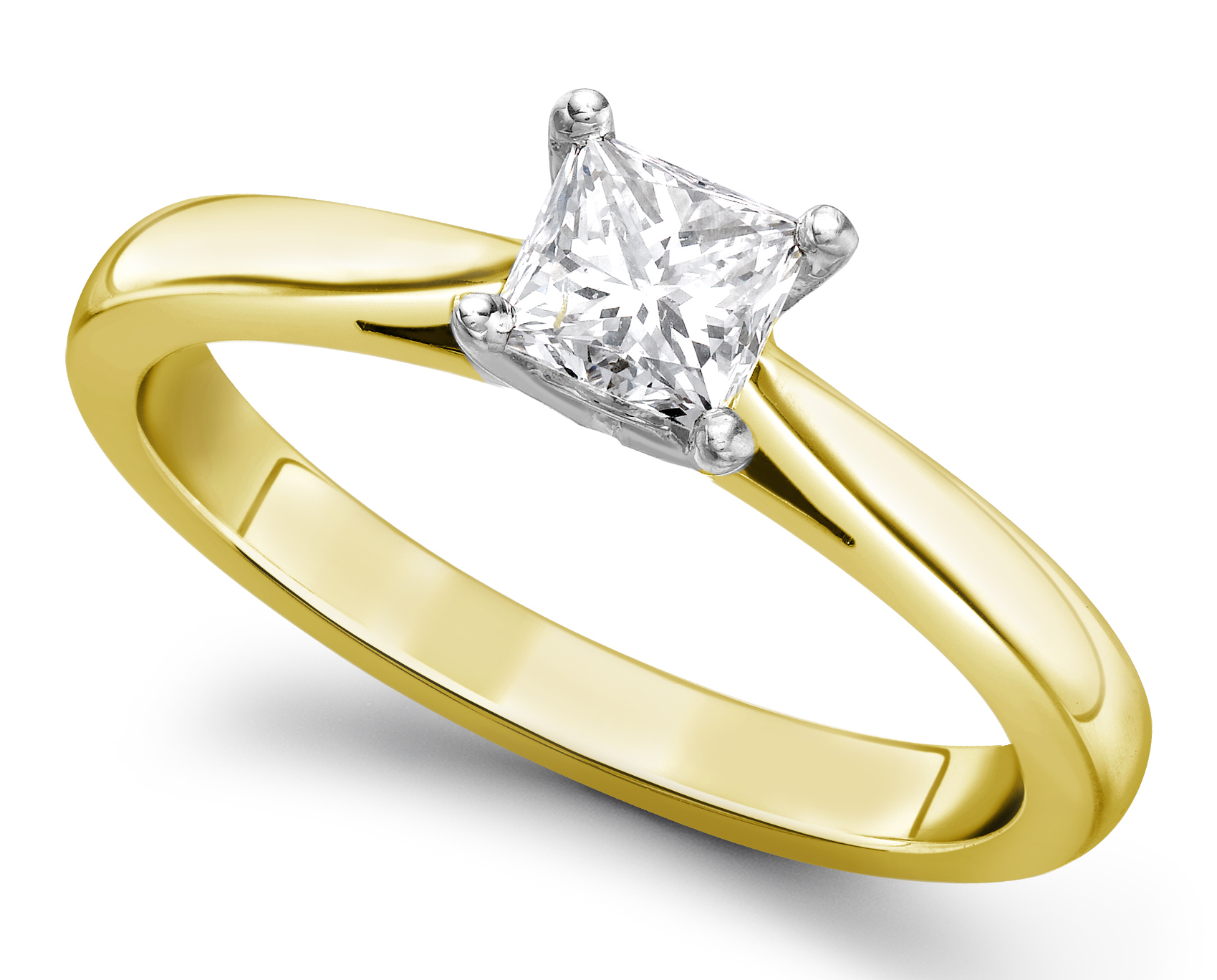 Princess Cut Four Claw Yellow Gold Engagement Ring GRC651YG Main Image