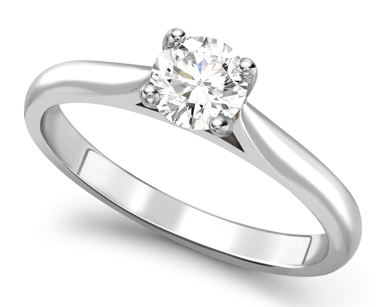 Round Four Claw White Gold Engagement Ring GRC680  Main Image