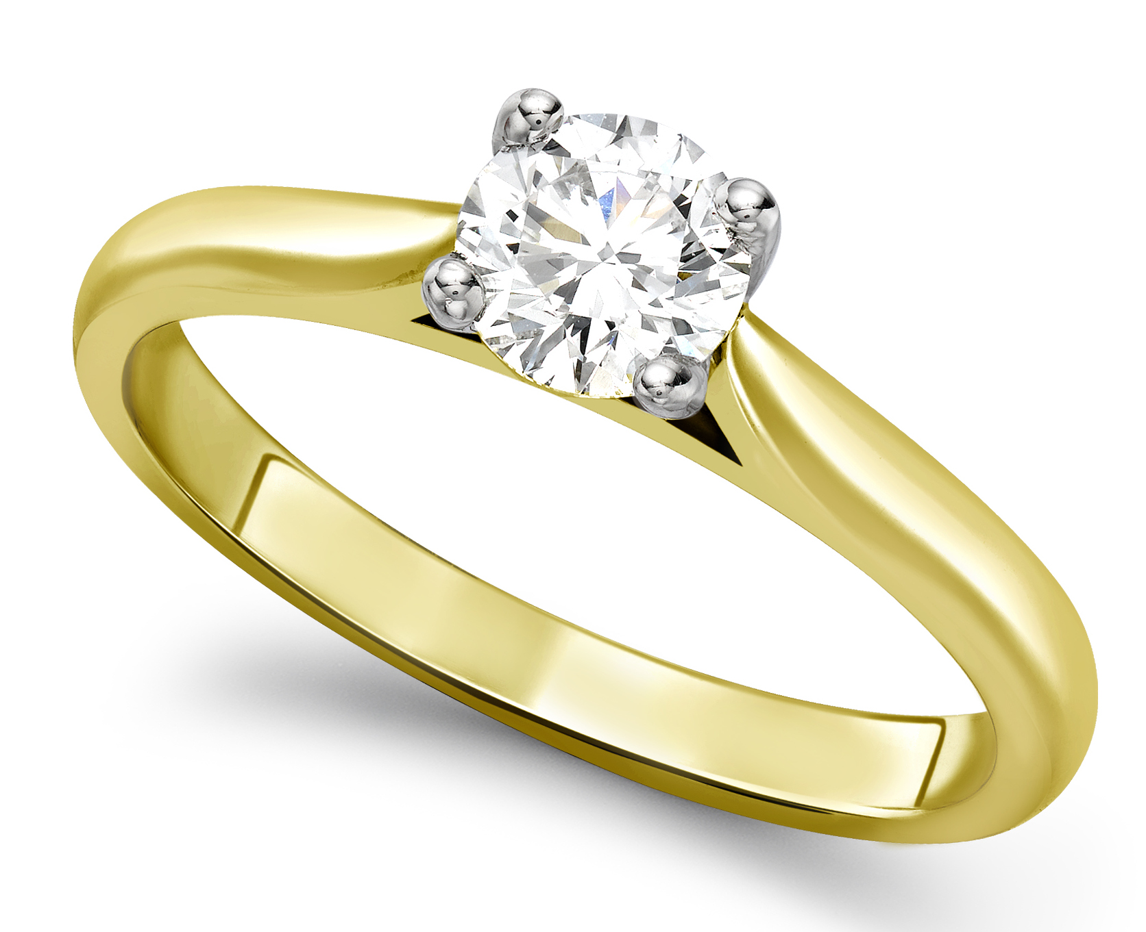 Round Four Claw Yellow Gold Engagement Ring GRC680YG Main Image