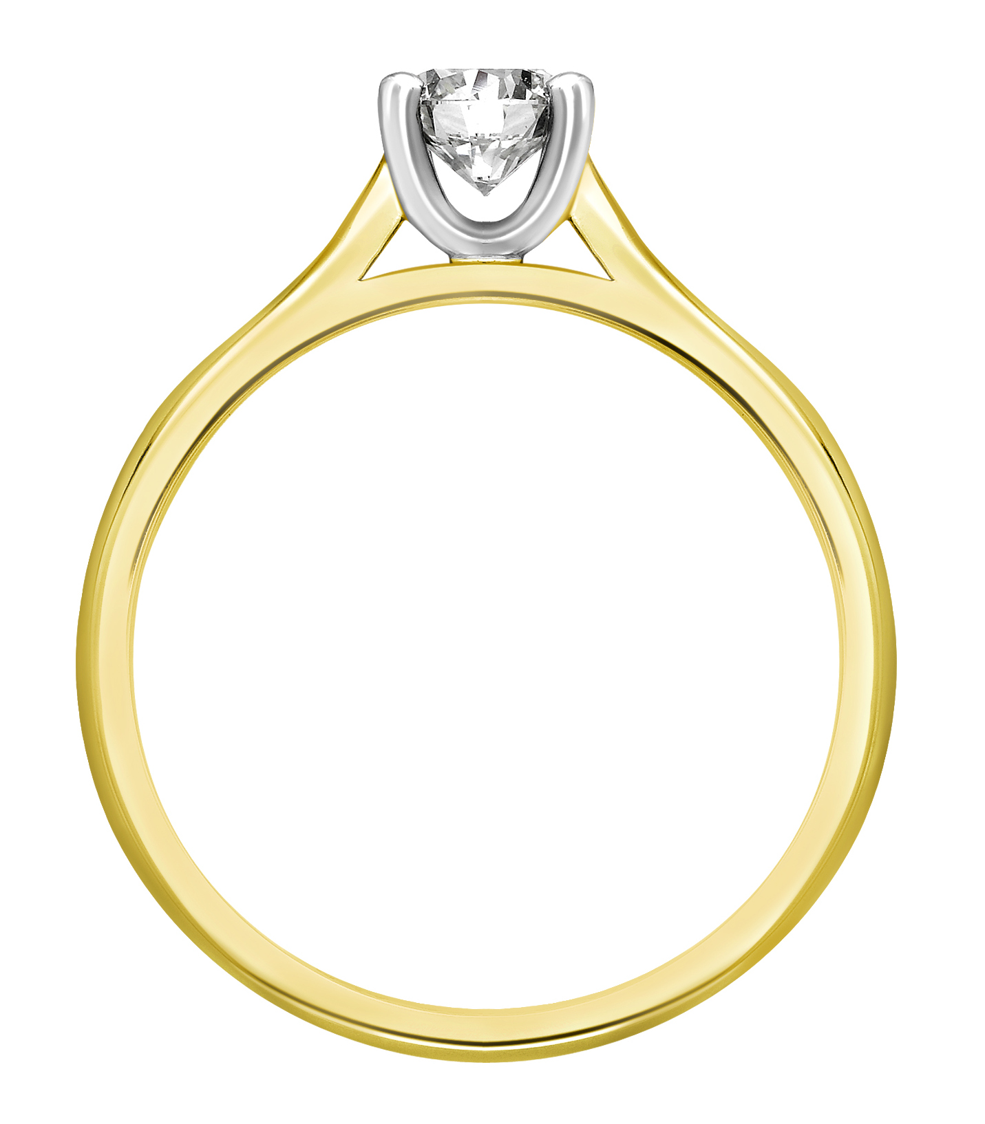 Round Four Claw Yellow Gold Engagement Ring GRC680YG Image 2