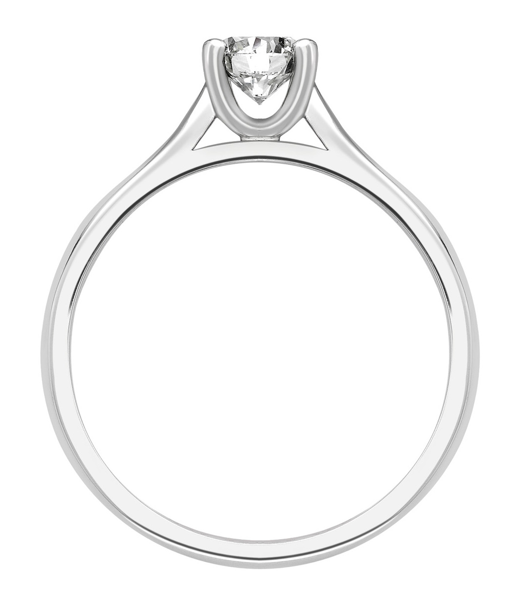 Round Four Claw White Gold Engagement Ring GRC680  Image 2