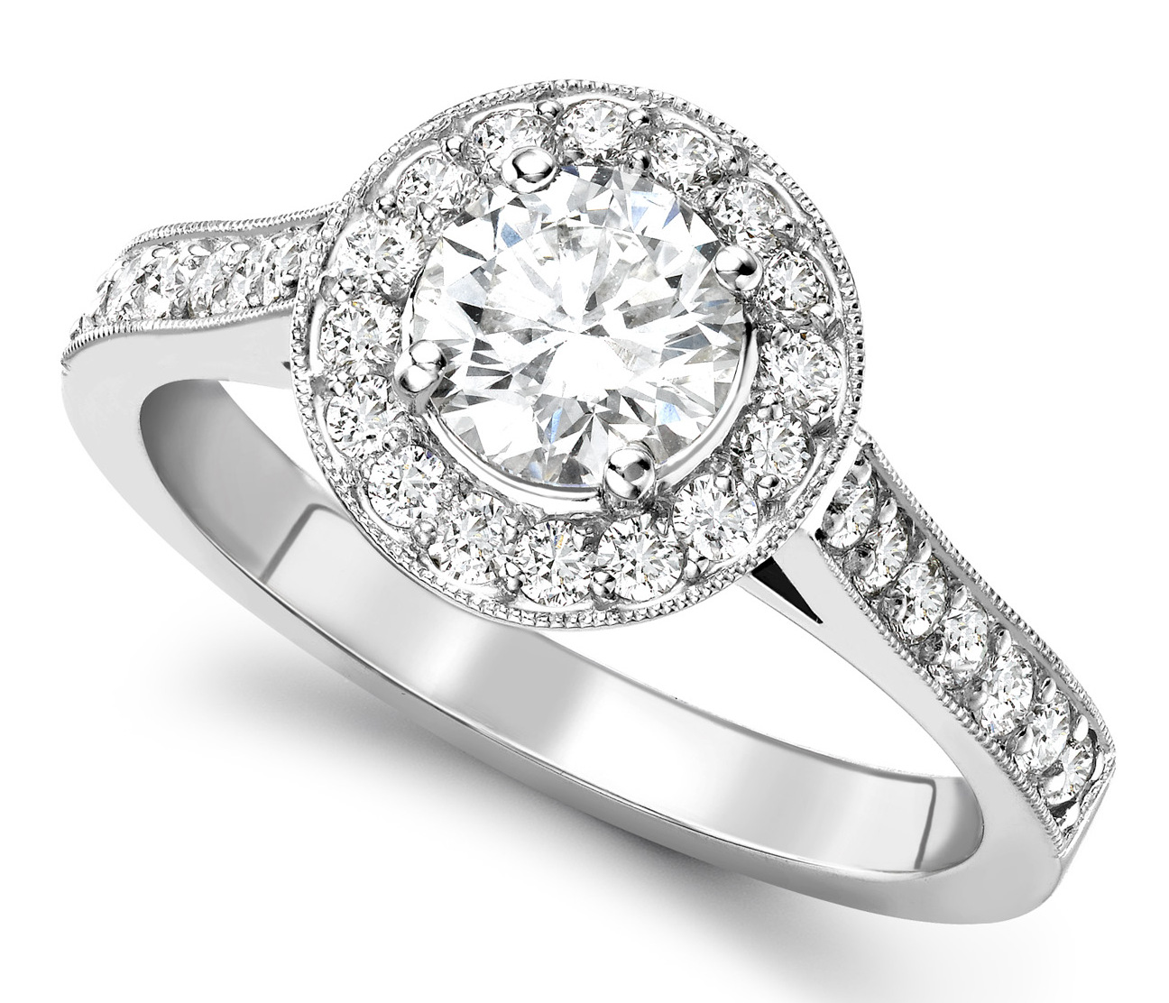 Round 0.70ct White Gold Halo Diamond Set Engagement Ring GRC681 Main Image