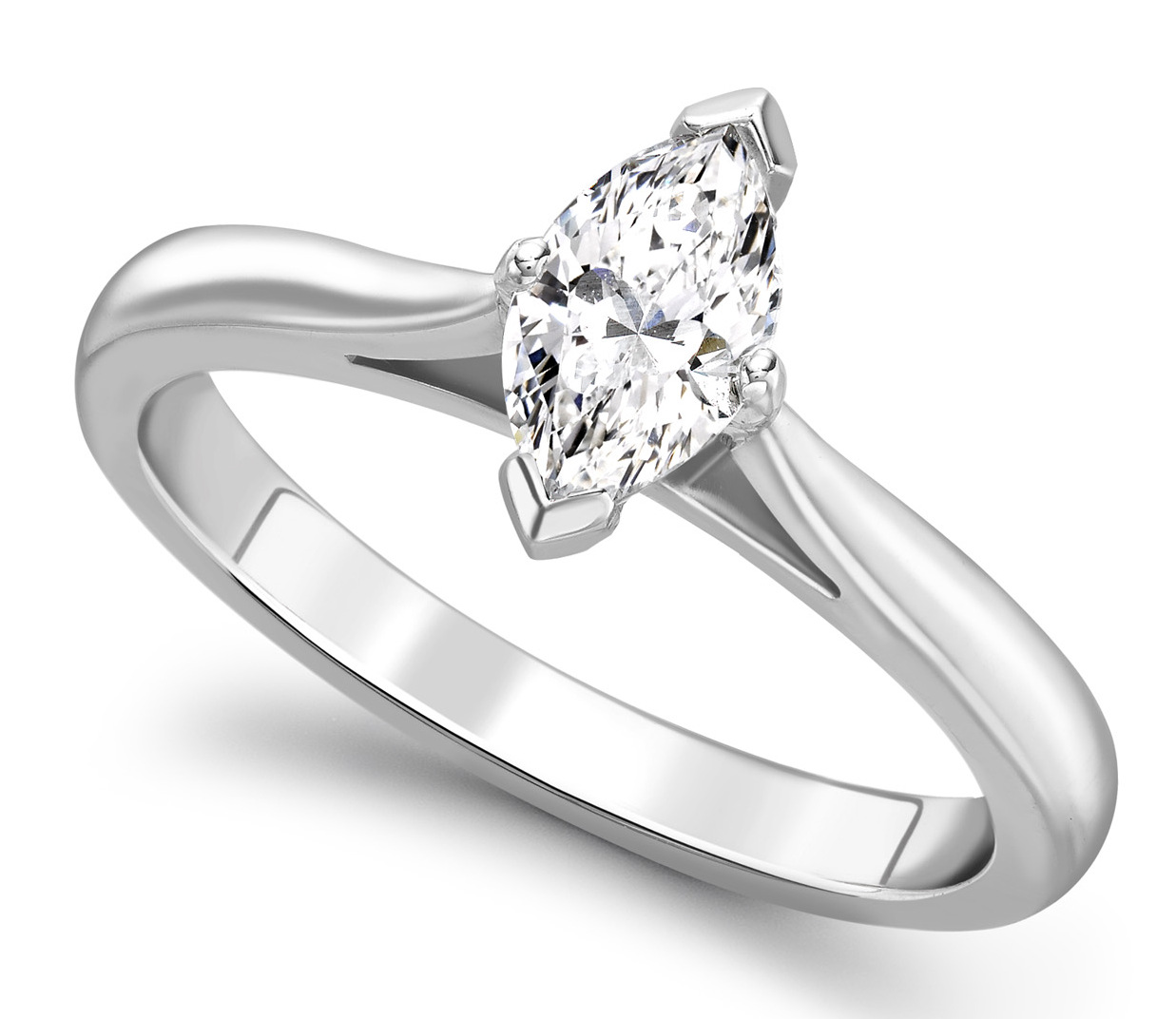 Marquise Cut White Gold Diamond Engagement Ring GRC687 Main Image