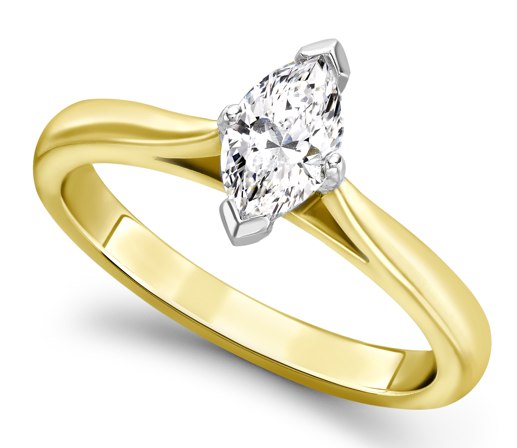 Marquise Cut Yellow Gold Diamond Engagement Ring GRC687YG Main Image