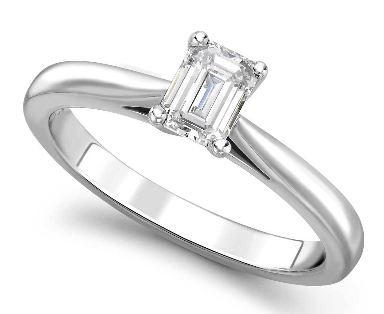 Emerald Cut 4 claw Platinum Diamond Engagement Ring GRC688PLT Main Image
