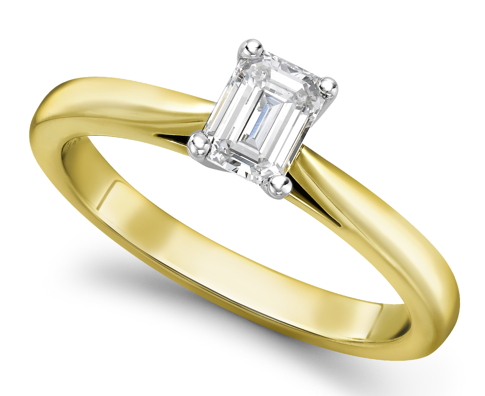 Emerald Cut Yellow Gold Diamond Engagement Ring GRC688YG Main Image