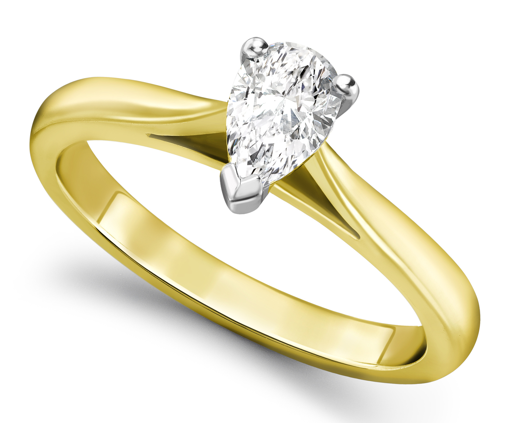 Pear Shape Yellow Gold Diamond Engagement Ring GRC689YG  Main Image