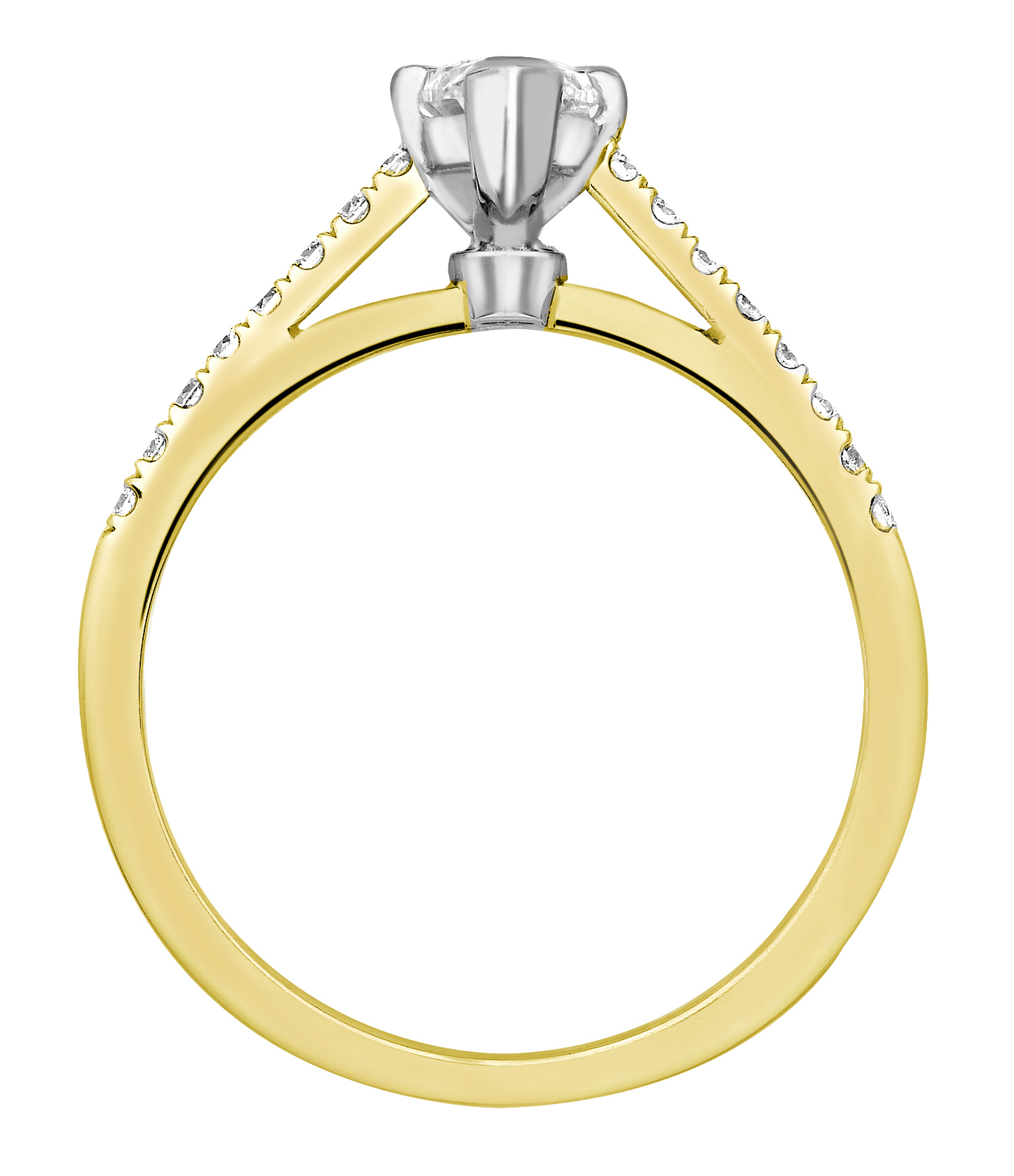 Marquise Cut 4 Claw Yellow Gold Diamond Engagement Ring GRC699YG Image 2