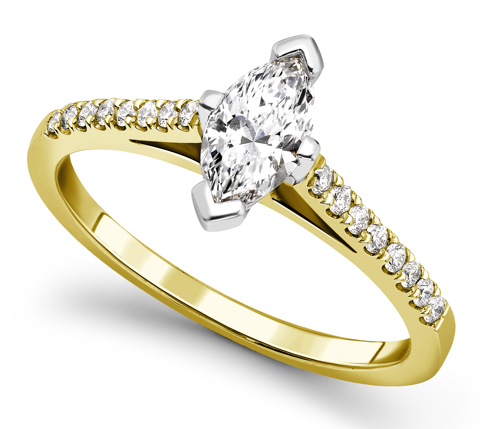 marquise cut 4 claw yellow gold engagement ring