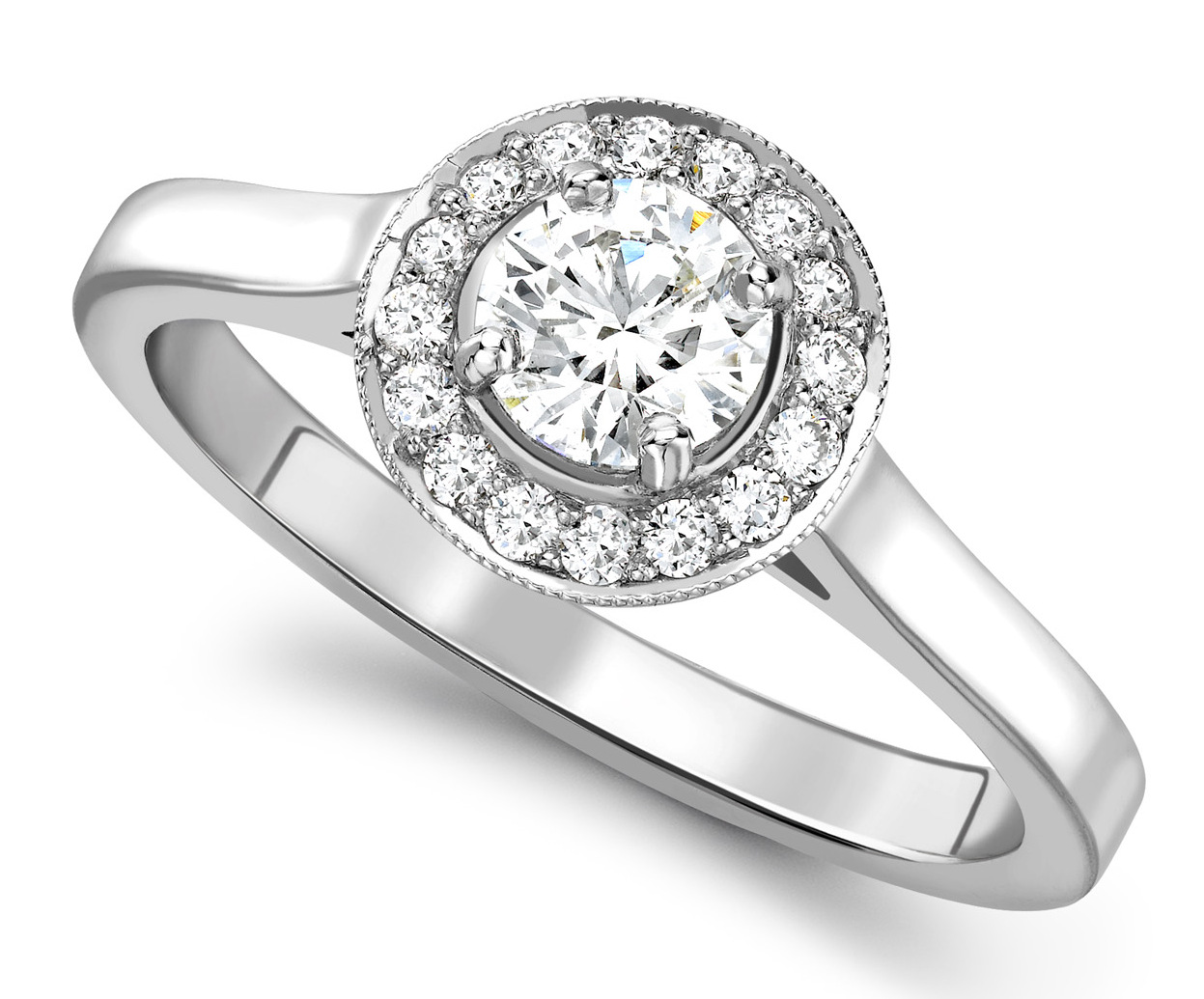 Round 0.50ct White Gold Halo Diamond Set Engagement Ring GRC728 Main Image