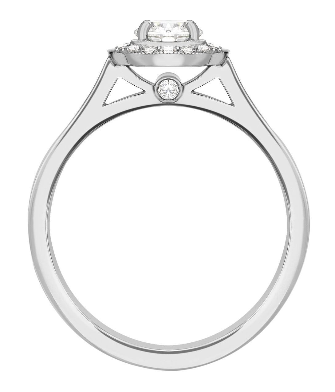 Round 0.50ct White Gold Halo Diamond Set Engagement Ring GRC728 Image 2