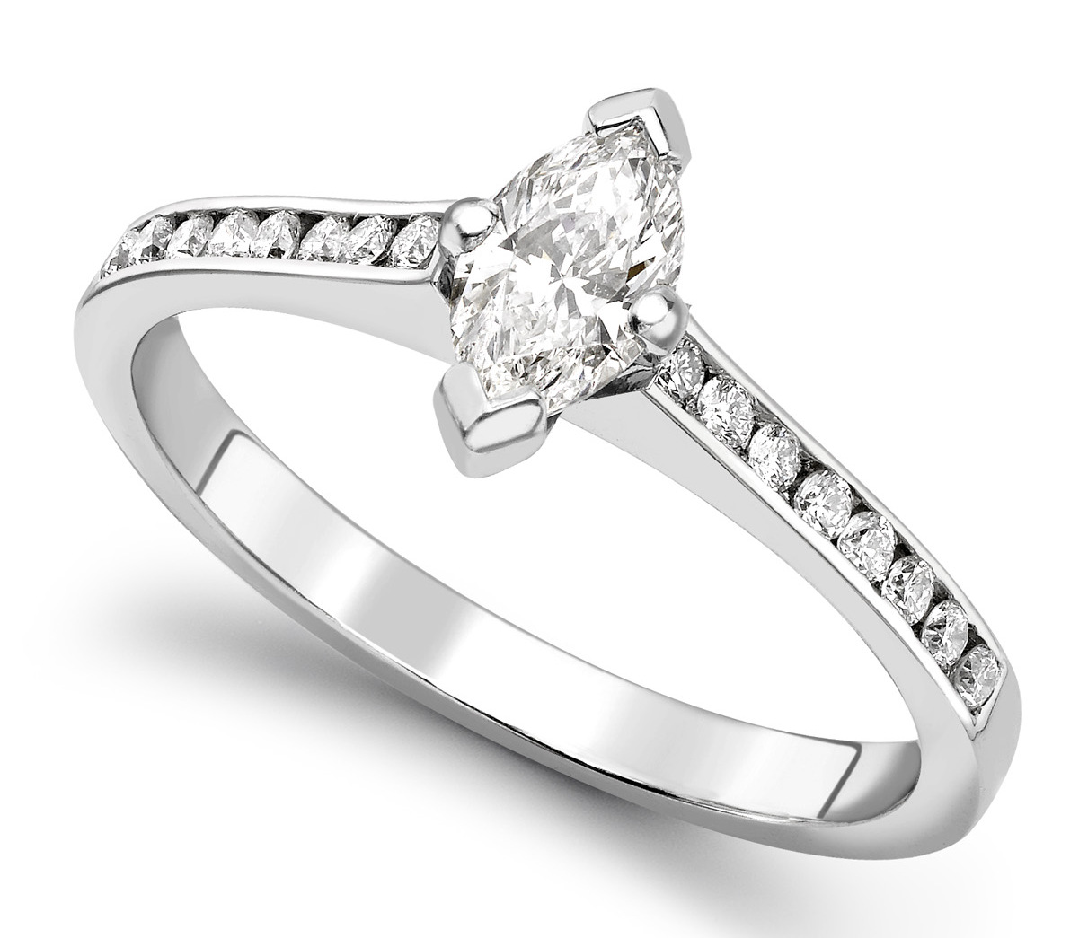 Marquise Cut White Gold Ring with Channel Set Shoulders GRC751 Main Image