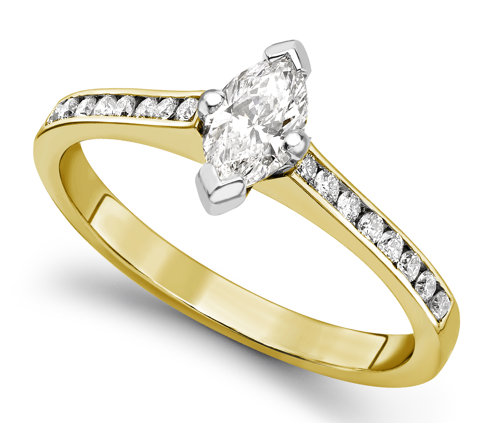 Marquise Cut Yellow Gold Ring with Channel Set Shoulders GRC751YG Main Image