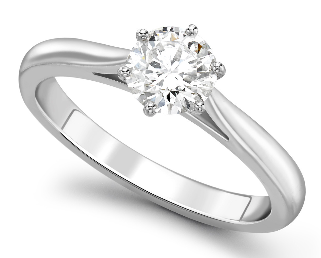 Round Six Claw White Gold Engagement Ring    GRC757 Main Image