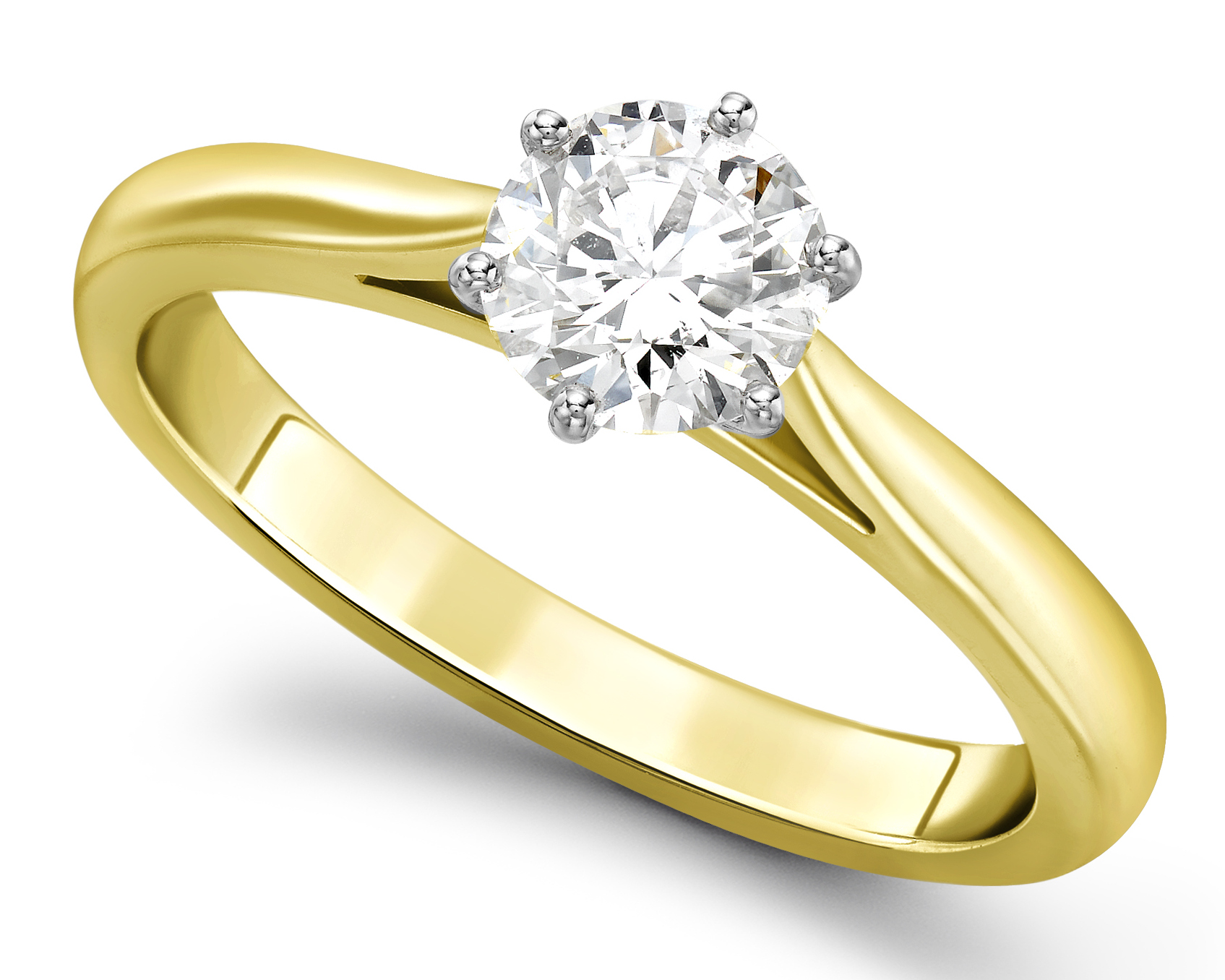 Round Six Claw Yellow Gold Engagement Ring GRC757YG Main Image