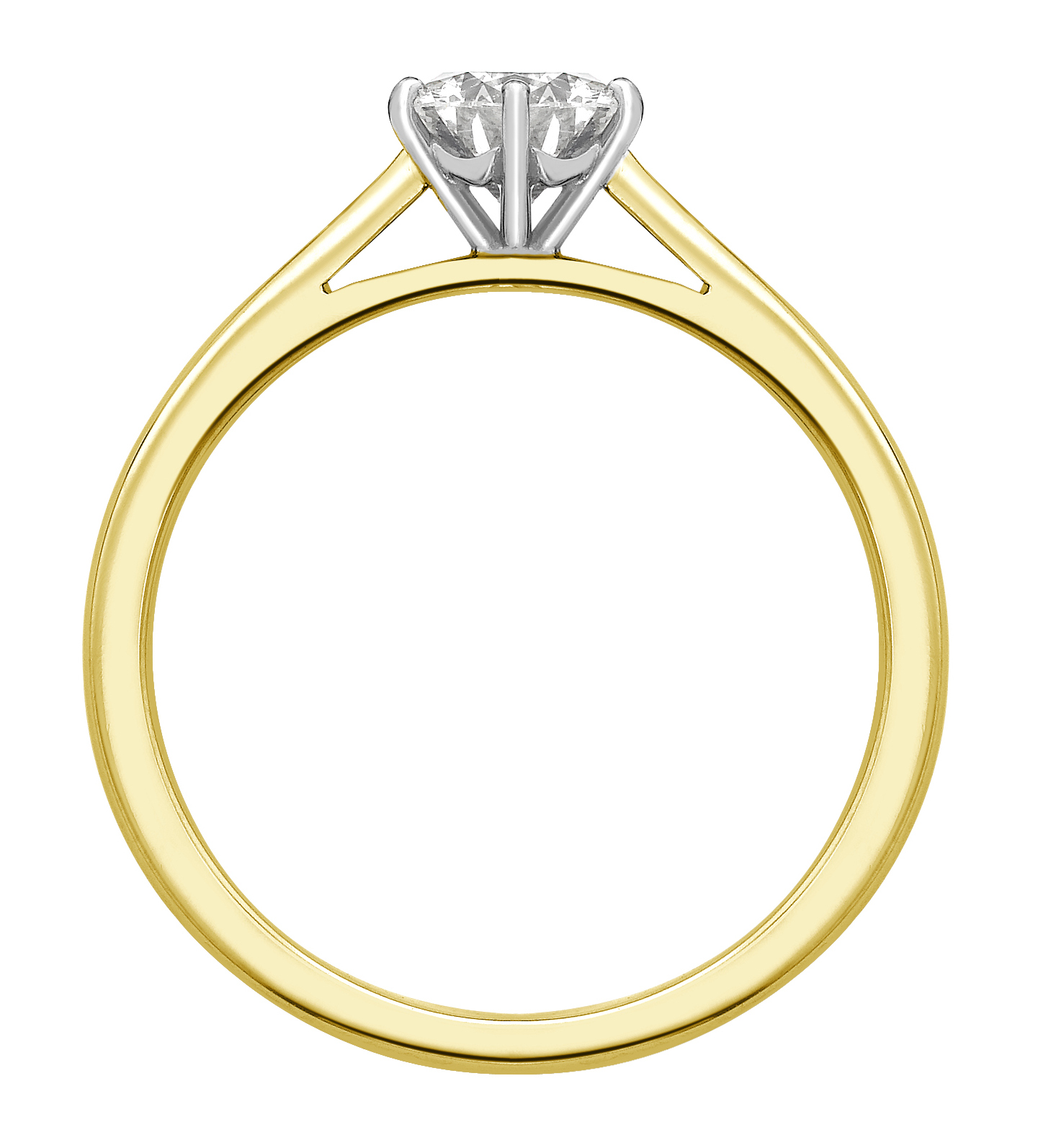 Round Six Claw Yellow Gold Engagement Ring GRC757YG Image 2