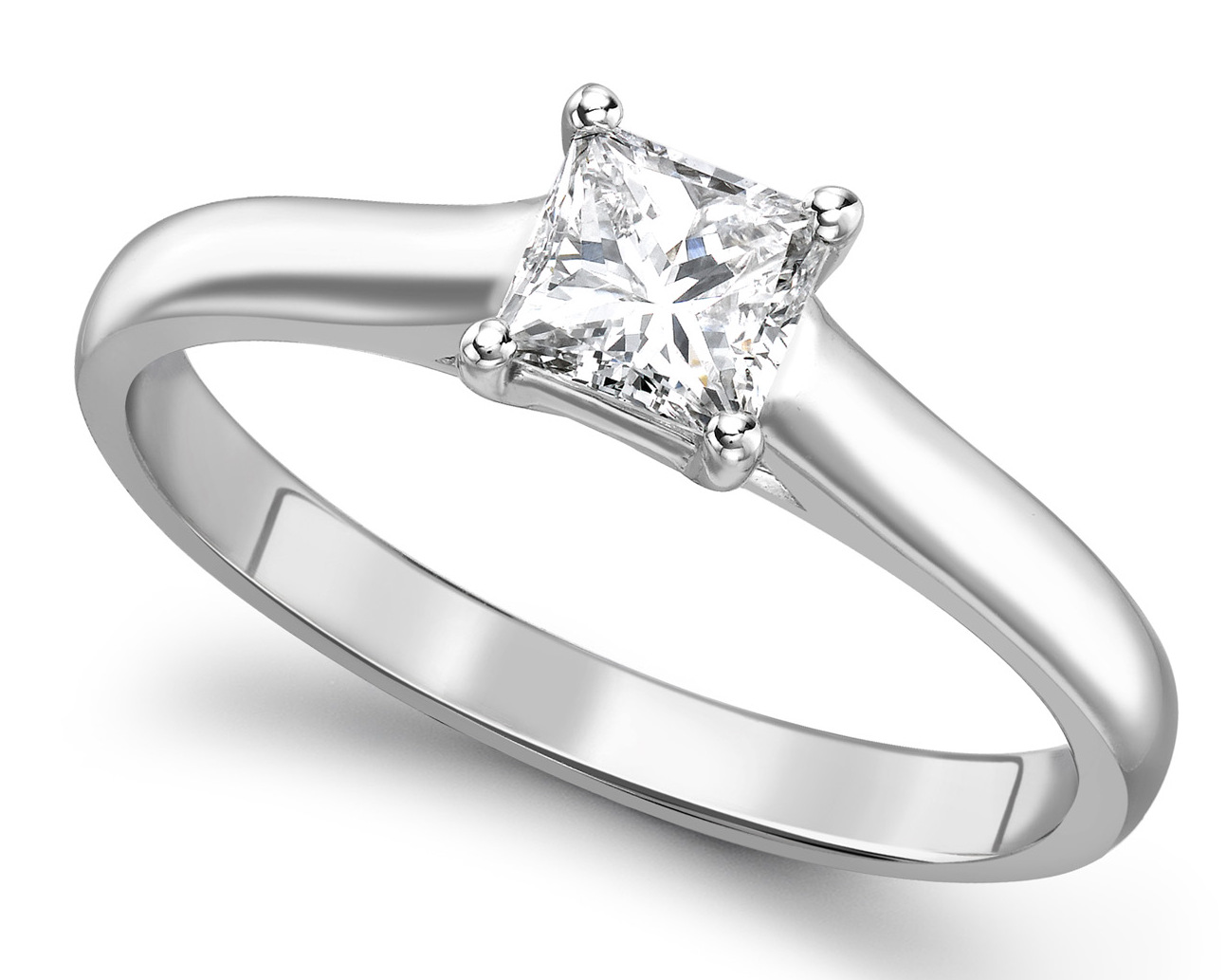 Princess Cut Four Claw White Gold Engagement Ring GRC759 Main Image
