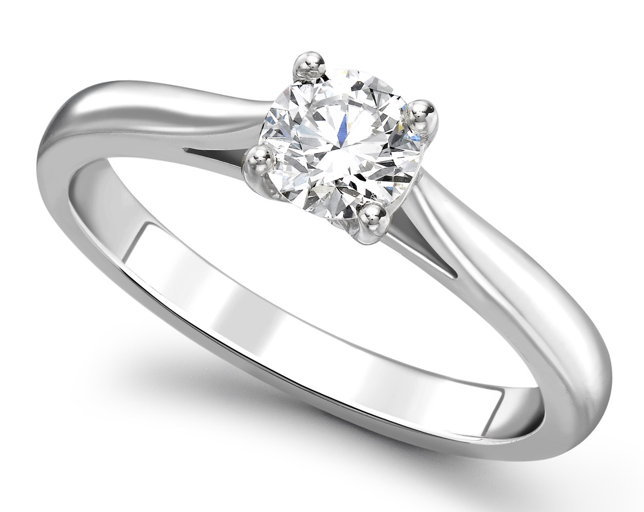 Round Four Claw White Gold 950 Engagement Ring GRC783 Main Image