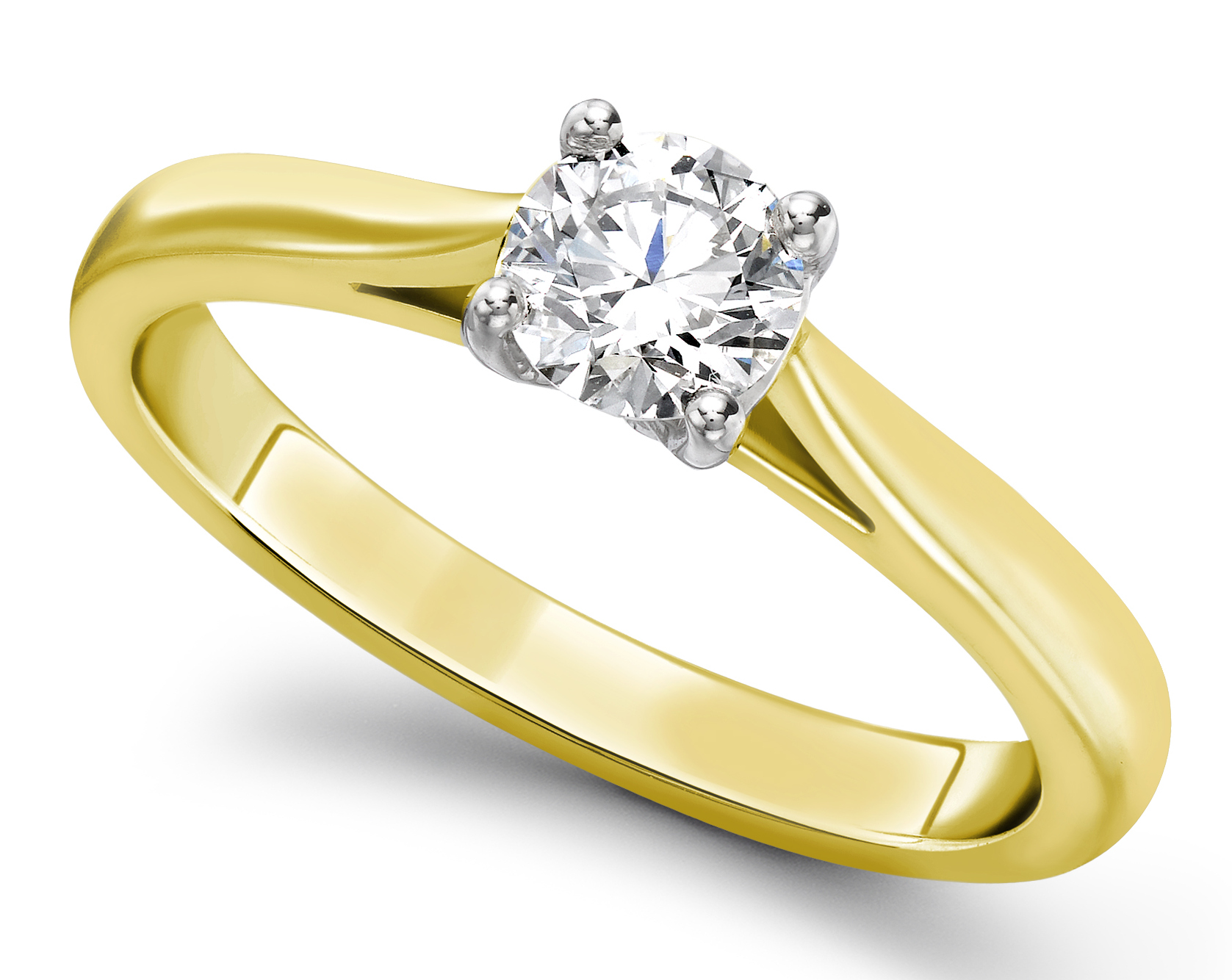 Round Four Claw Yellow Gold Engagement Ring GRC783YG Main Image