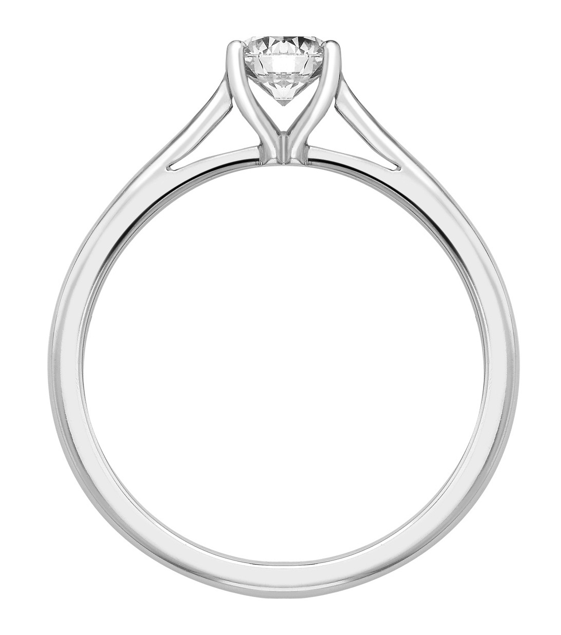 Round Four Claw White Gold 950 Engagement Ring GRC783 Image 2