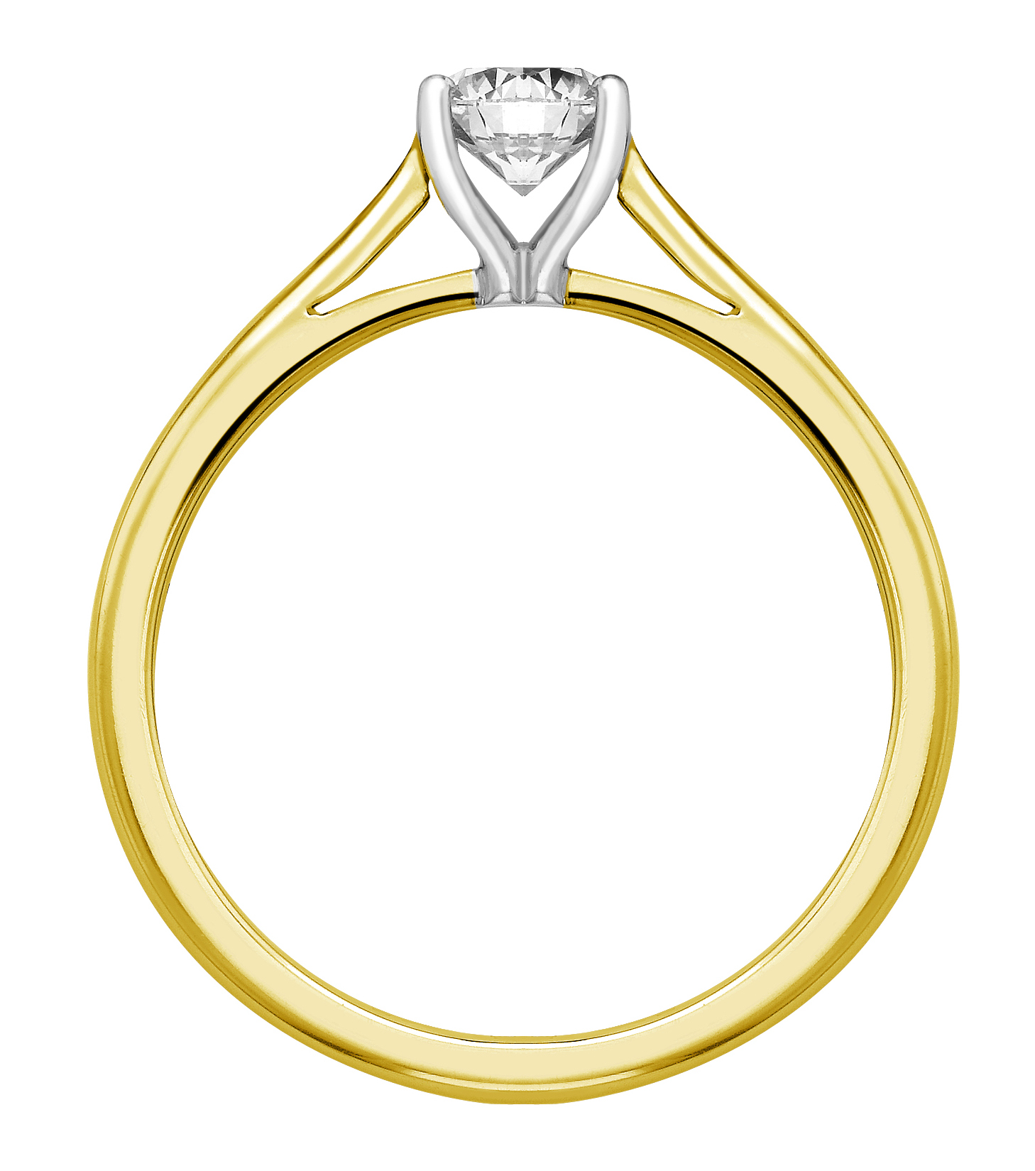 Round Four Claw Yellow Gold Engagement Ring GRC783YG Image 2